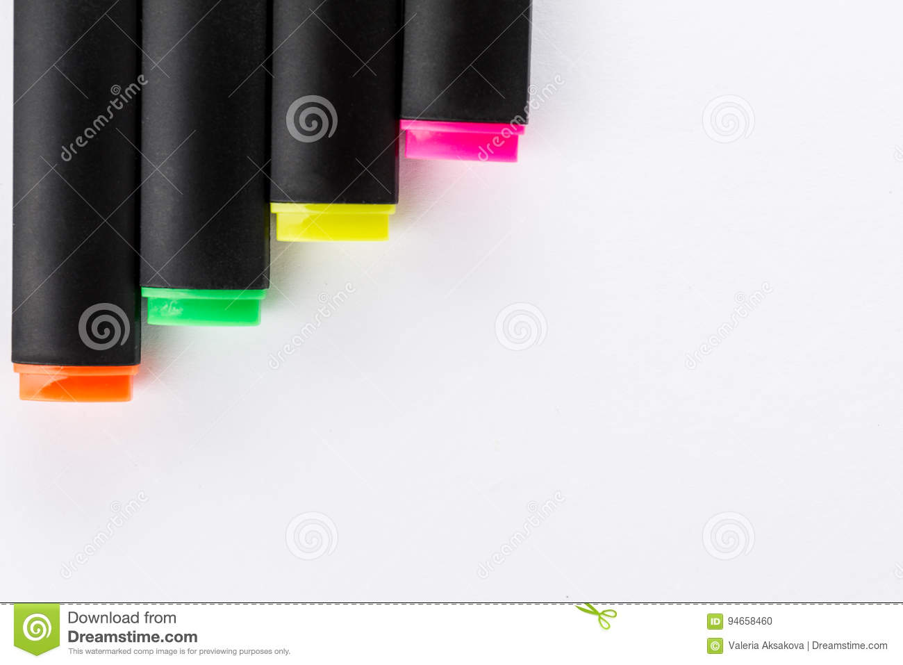 Different Colorful Markers With Office Accessories On White Office Table Top View Work Study Concept Stock Photo Image Of Highlighter Orange 94658460
