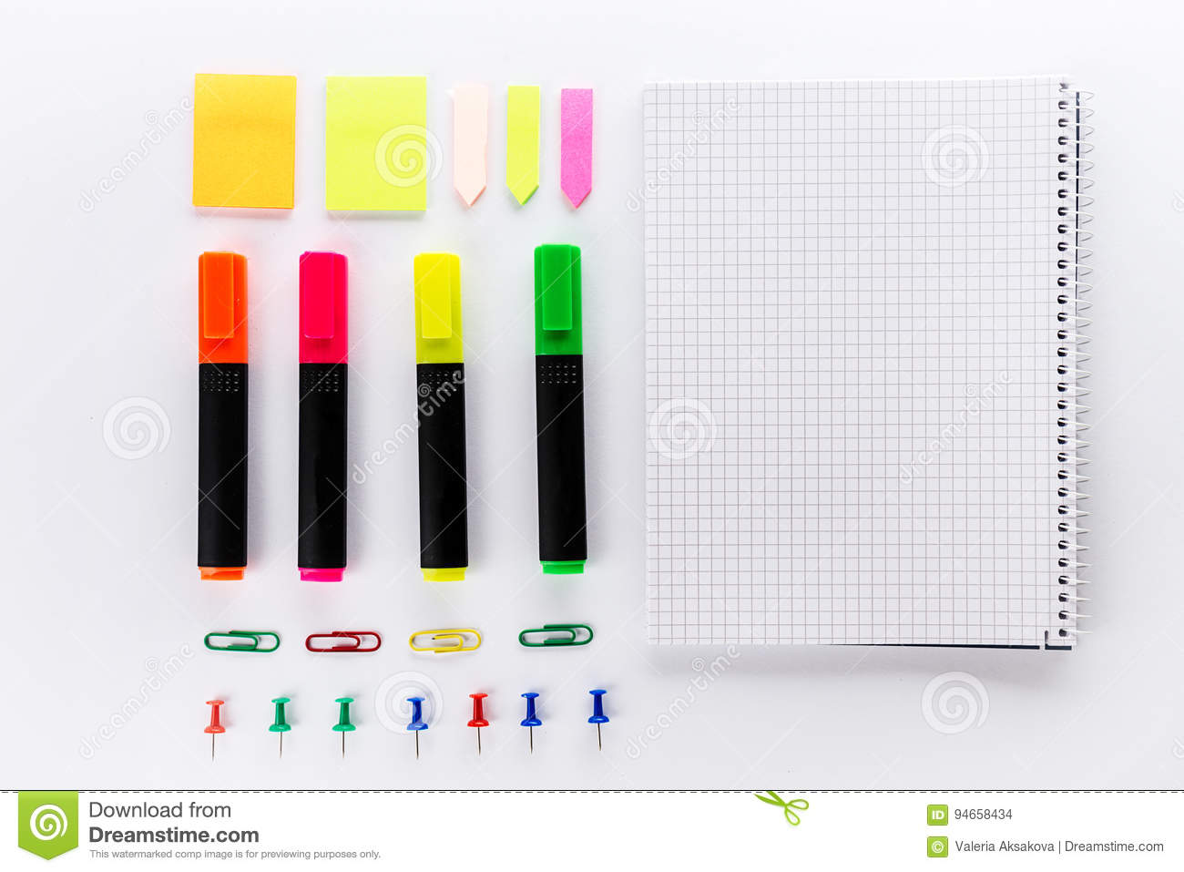 Different Colorful Markers With Office Accessories On White Office Table Top View Work Study Concept Flat Lay Stock Photo Image Of Creativity Leadership 94658434