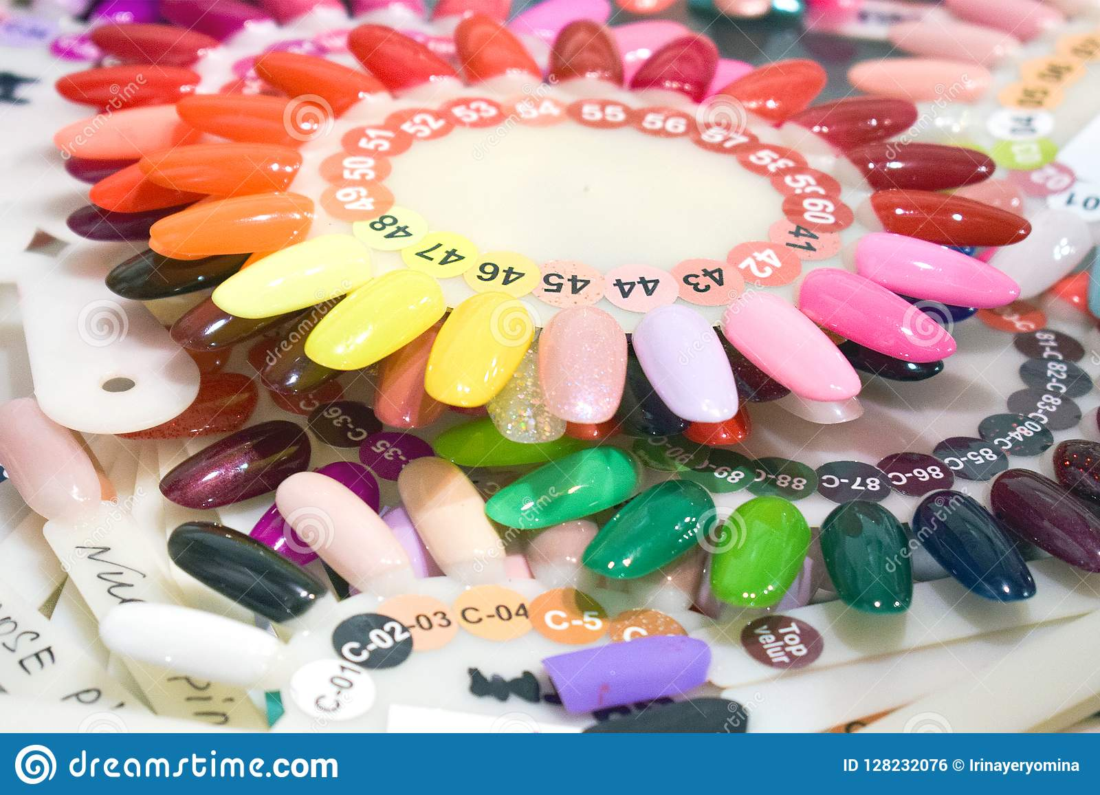 Different Colorful Nails Polish Manicure Palette Background Samples Of Nail Varnishes False Display Nail Art Fan Wheel Polish Pr Stock Photo Image Of Accessory Decorative 128232076