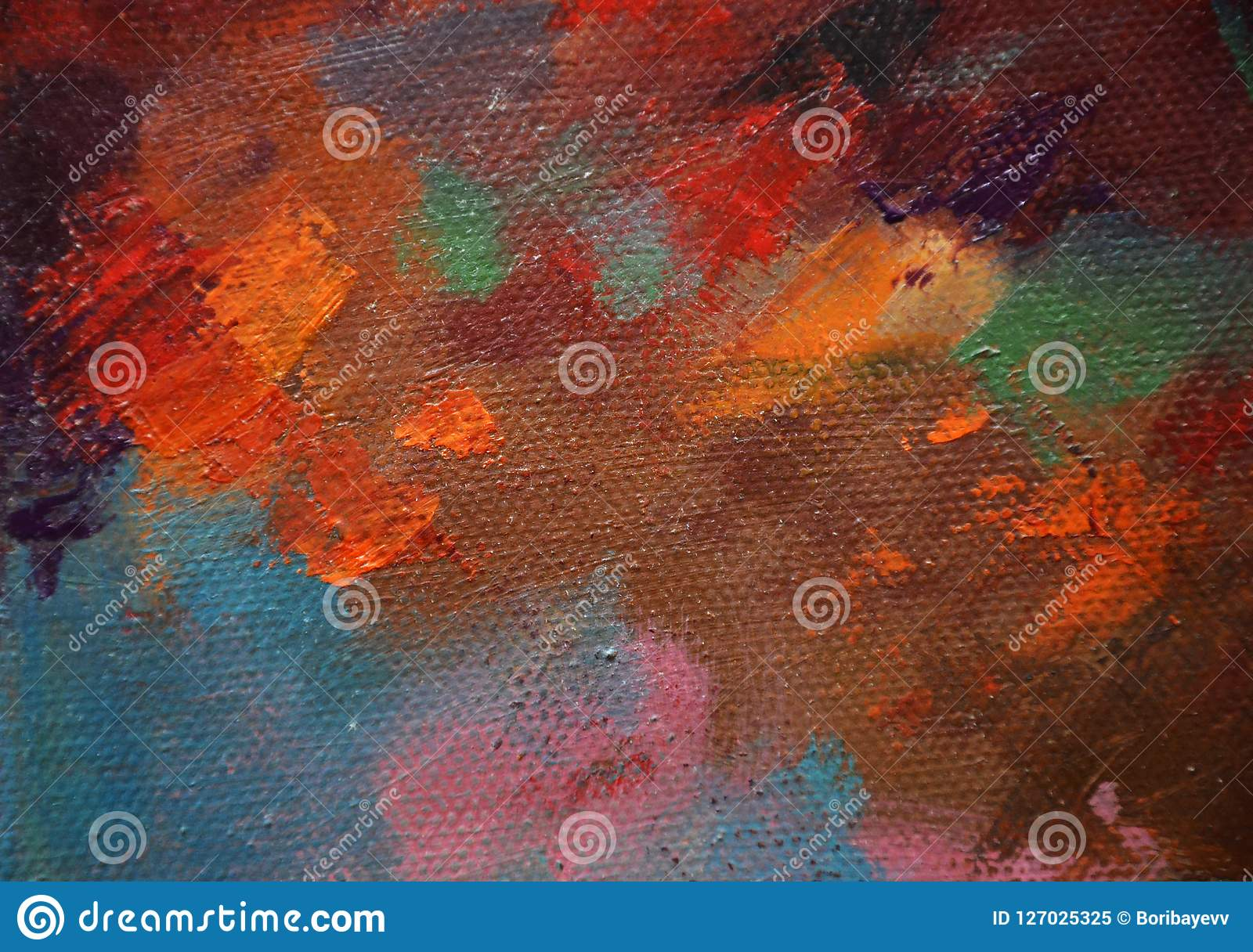Different colors on canvas, red, orange, brown and blue, pink