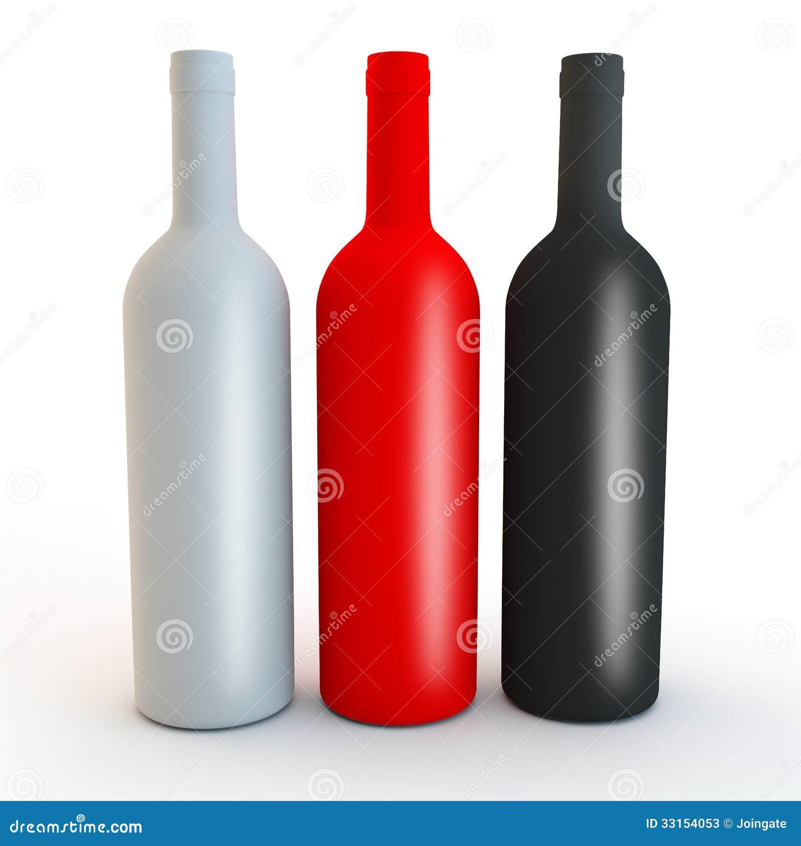 Different Coloured Matt Vodka, Spirits Or Wine Bottle Shapes