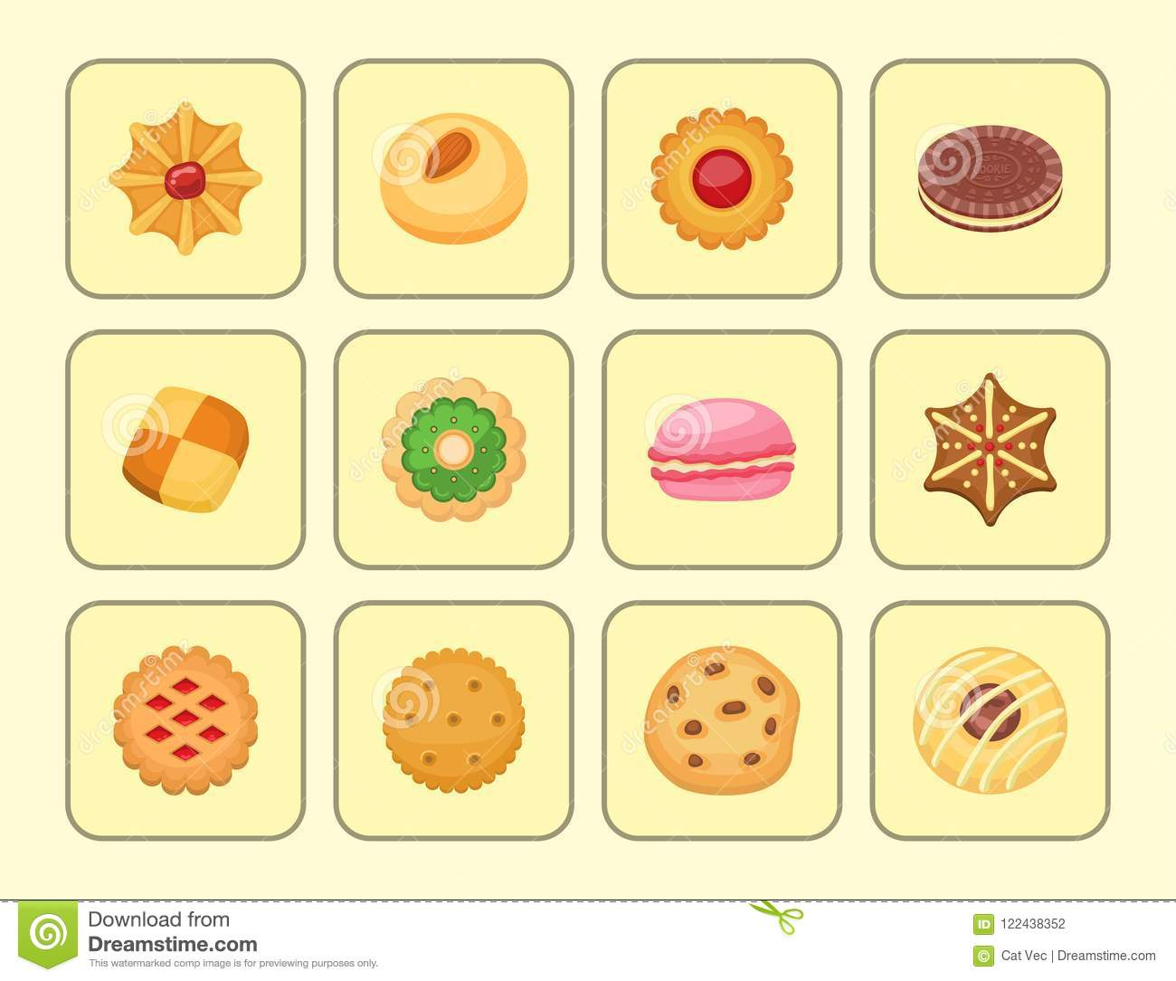 Different cookie cakes top view sweet food tasty snack biscuit sweet dessert vector illustration.