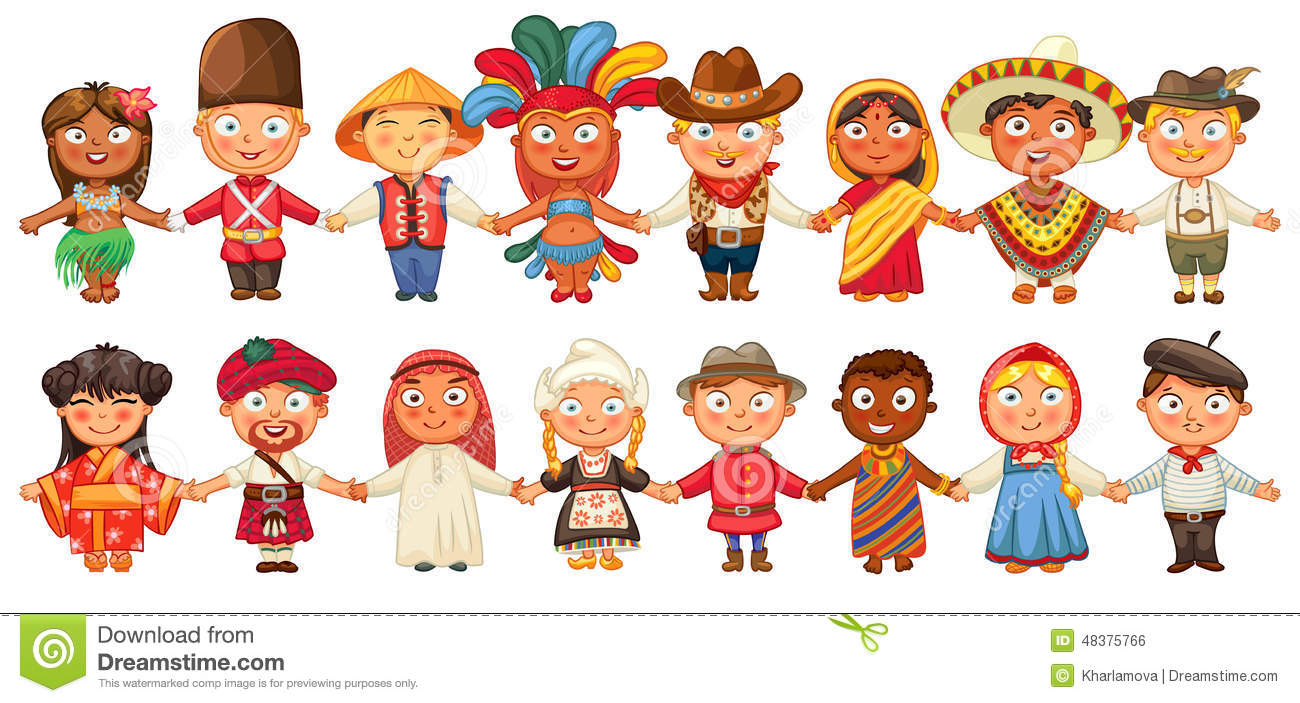 Different Culture Standing Together Holding Hands Stock Vector    Illustration Of Earth, Costume: 48375766
