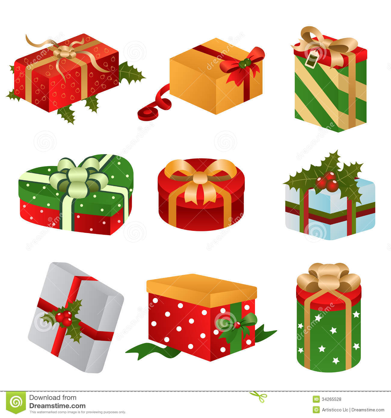 Different designs of christmas present boxes stock vector for Different design