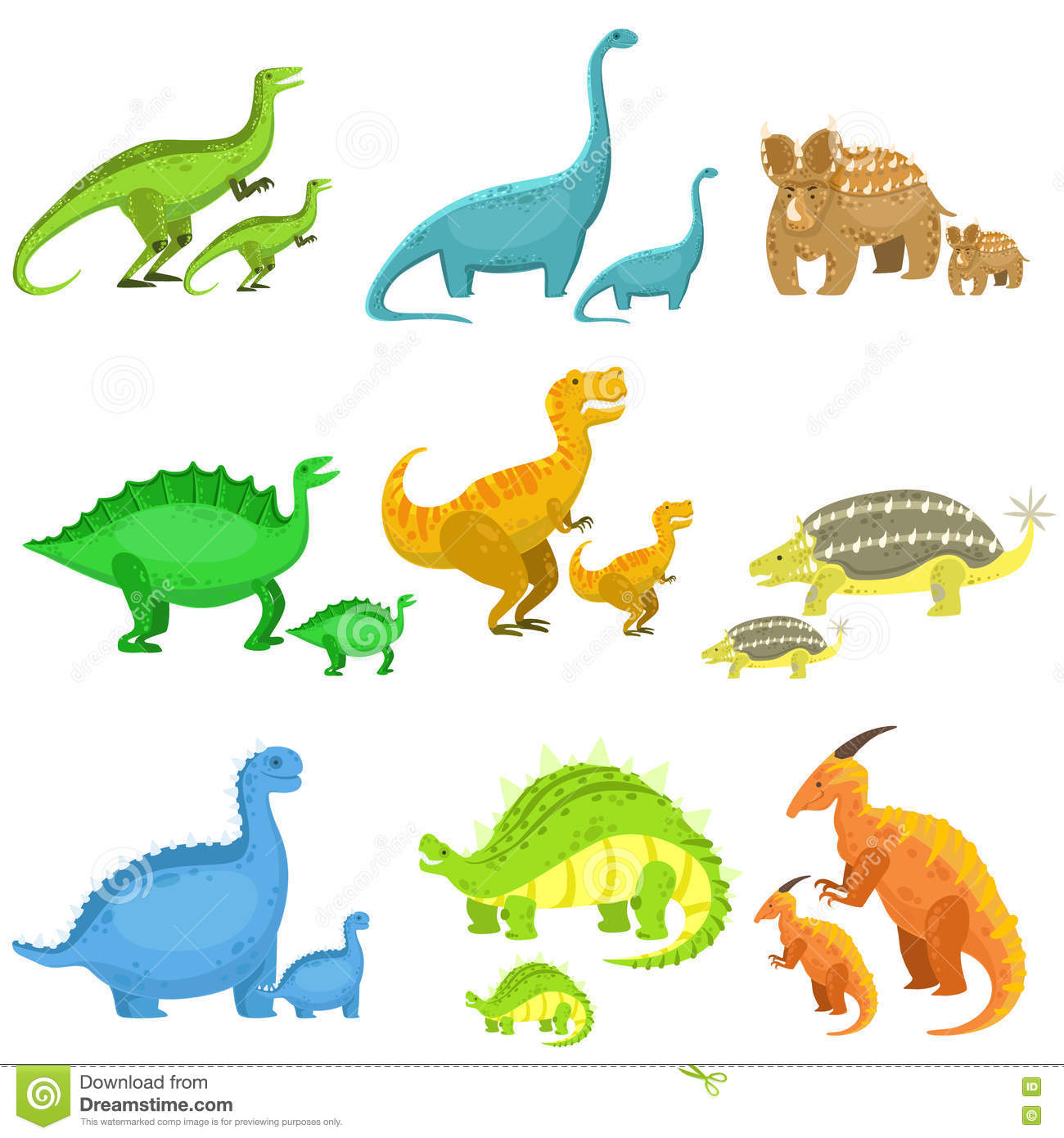 Different Dinosaurs In Pairs Of Big And Small Stock Vector ...