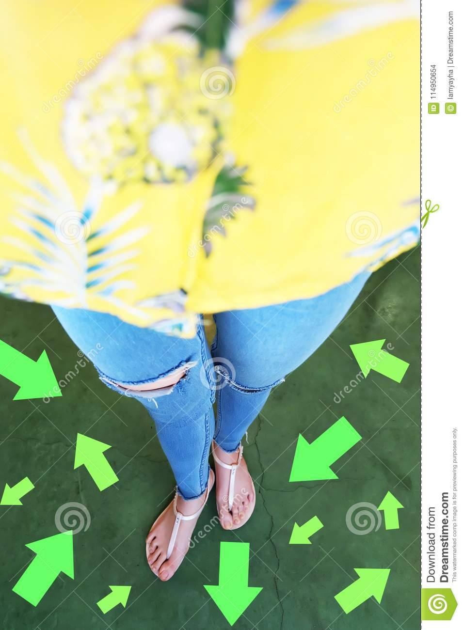 Different Direction Arrows to the Future. Selfie Above Woman Standing with Green Arrow Line Choices. Shoes Woman Footwear and ar