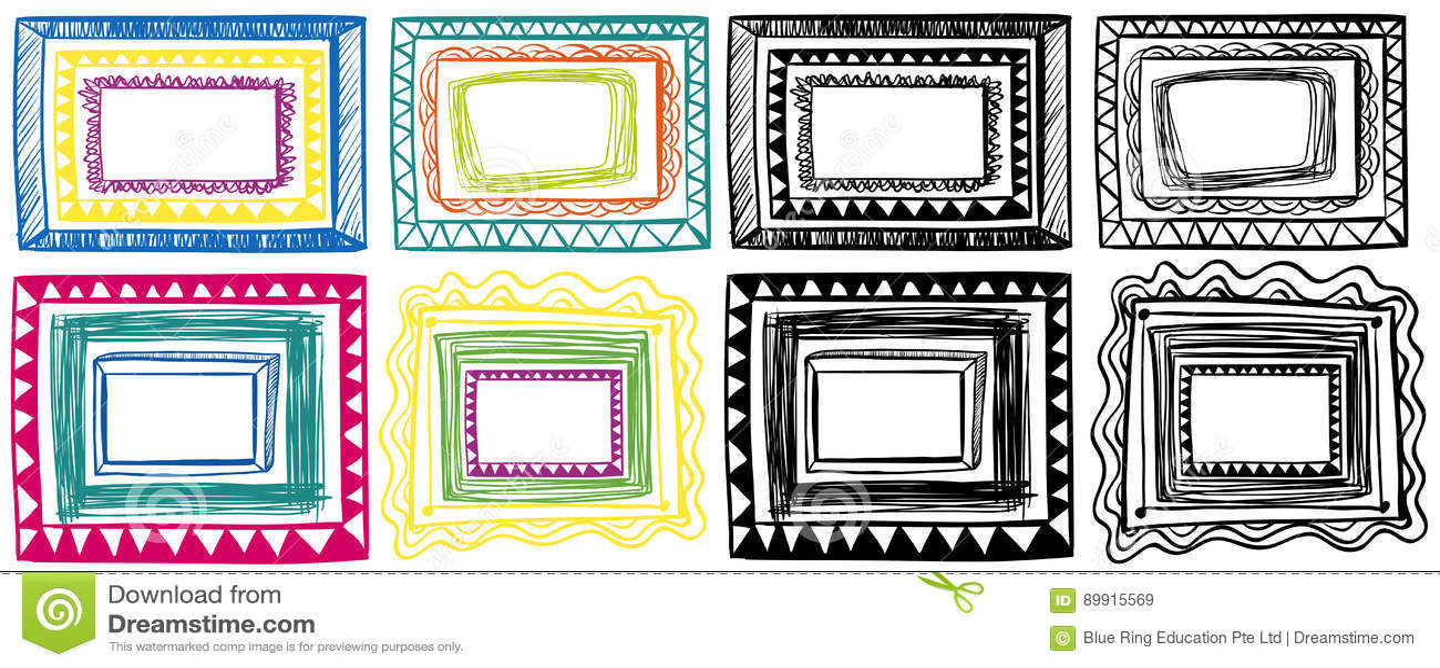 Different Doodles Of Frame Designs Stock Vector - Illustration of ...