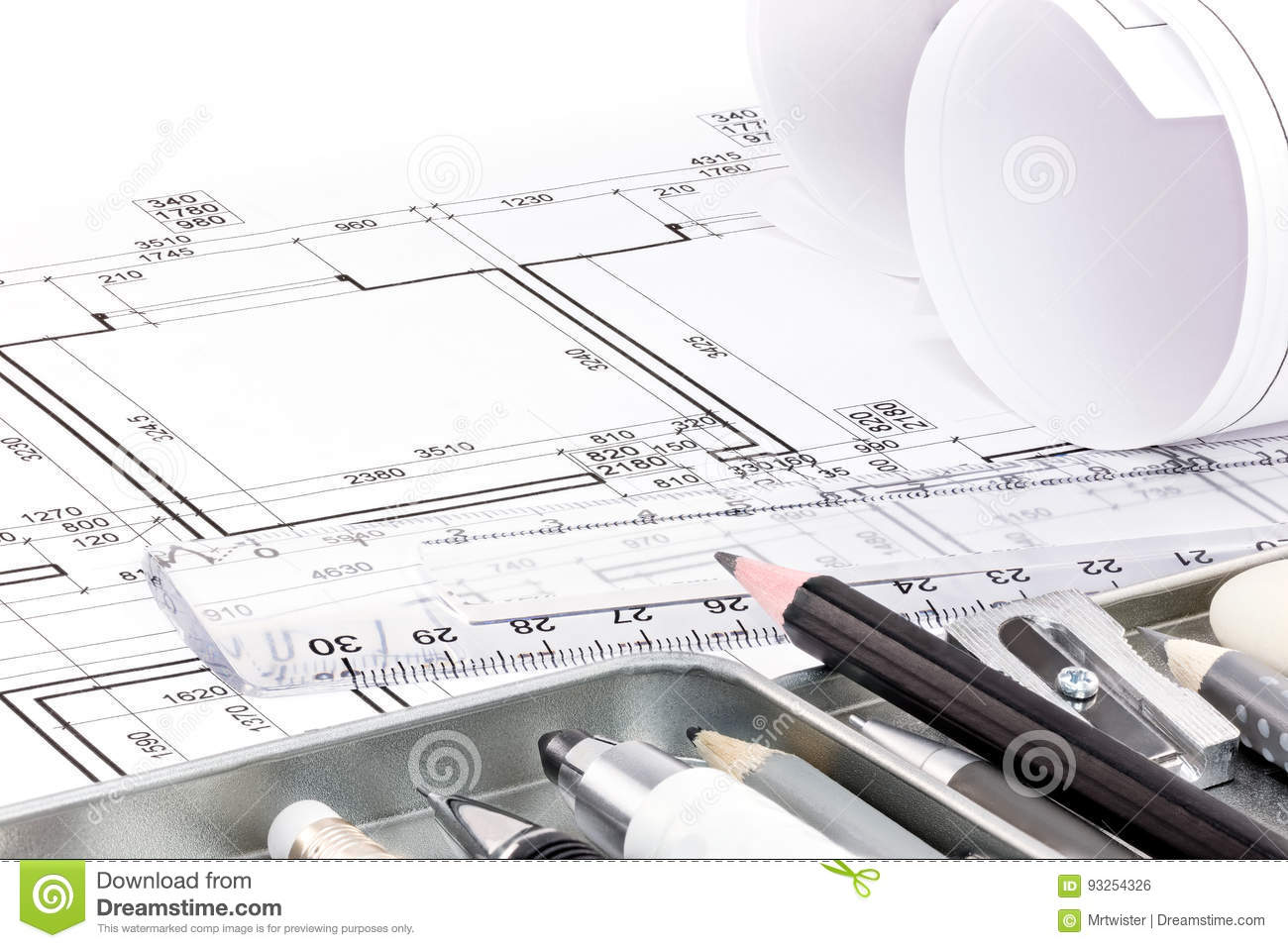 Different Drawing Tools For Designer On Architectural Of