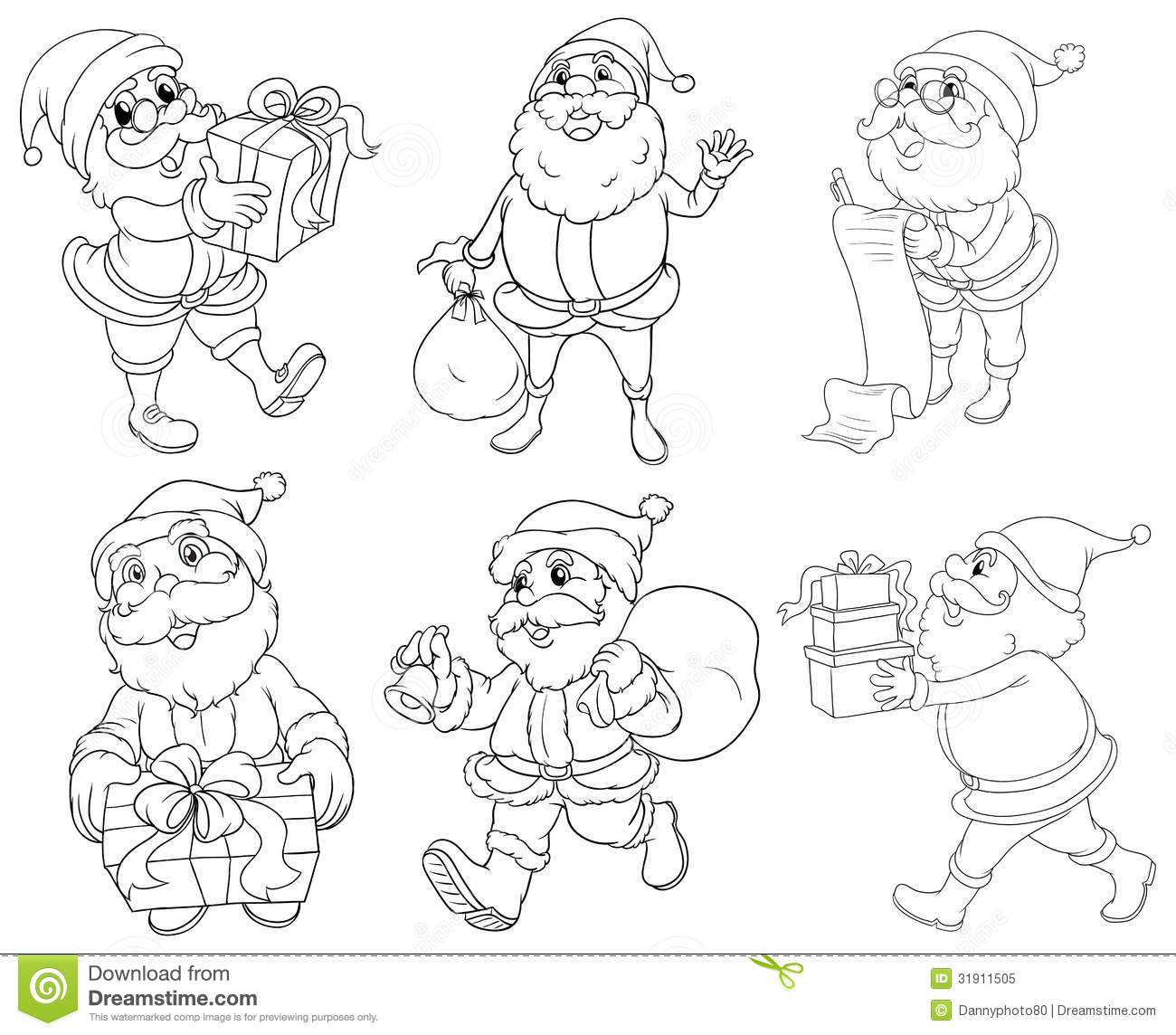 different drawings of santa claus giving gifts royalty free stock