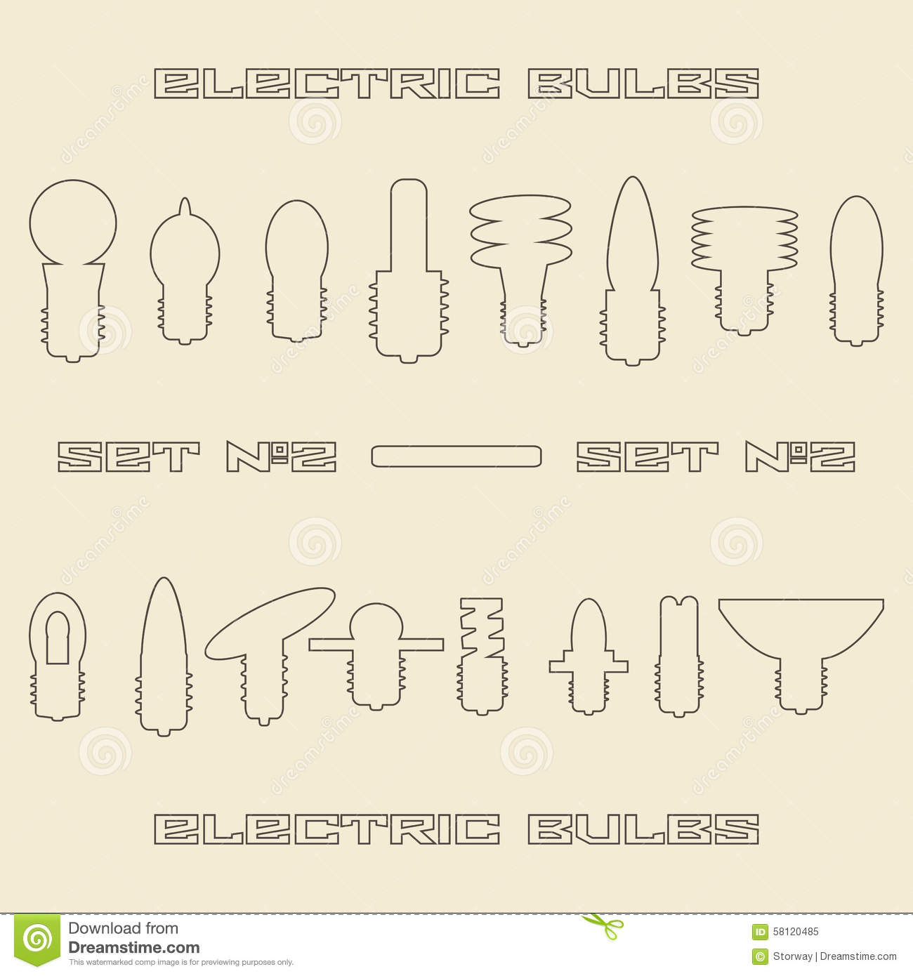 Different Electric Bulb Types Linear Icon Set Stock Vector Image 58120485