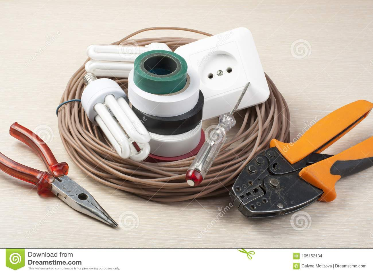 Set Of Electrical Tools On Wooden Background. Energy ...