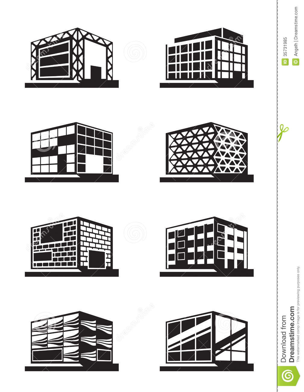 Different Facades Of Buildings Stock Vector - Illustration of
