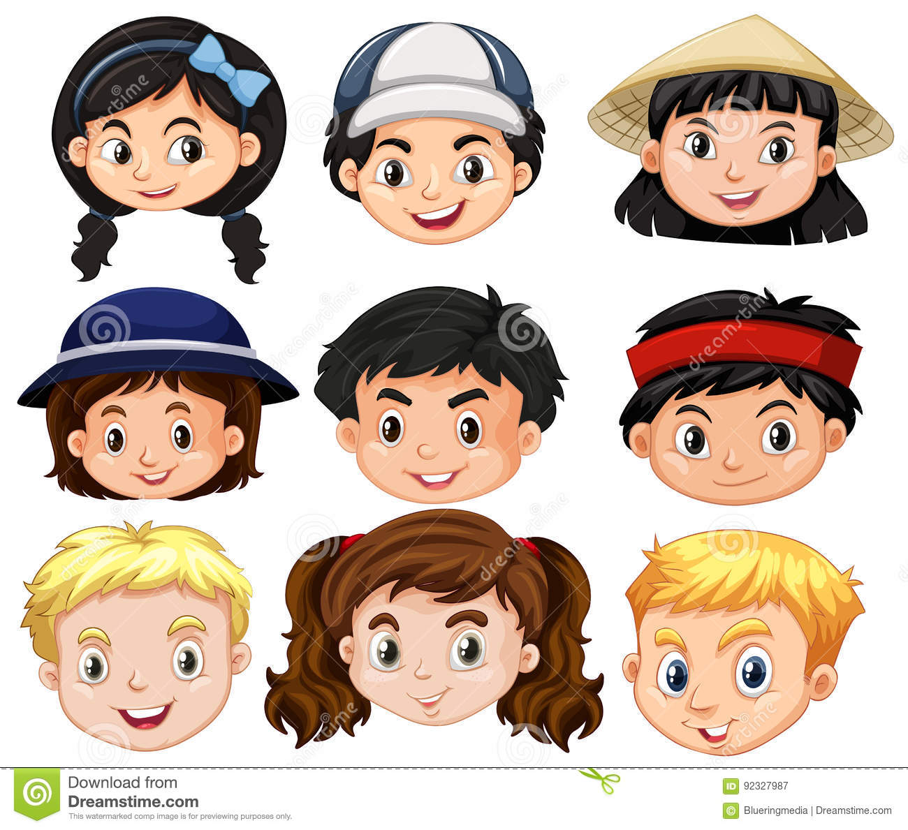 different faces of boys and girls stock vector illustration of