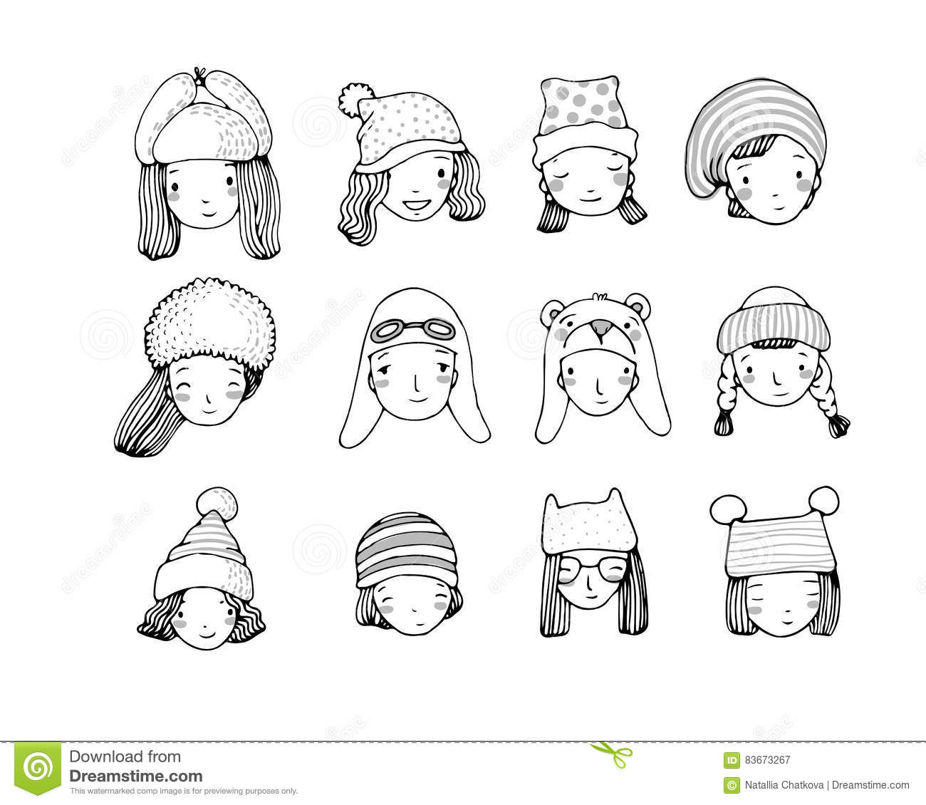 967367965e7 Different faces. People in winter hats. Hand drawing isolated objects on white  background.