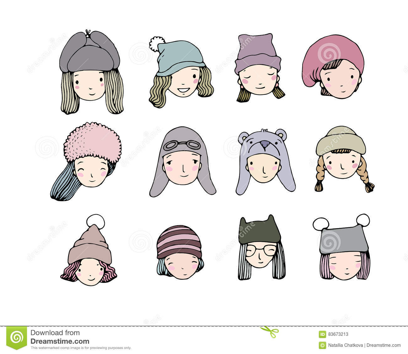 Different faces. People in winter hats. Hand drawing objects on white background.