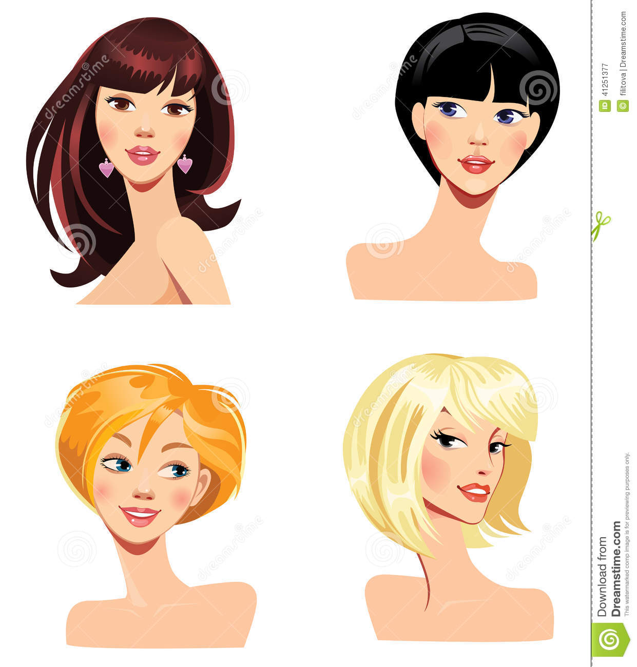 Different Faces Of Women With Hairstyles Stock Vector Illustration
