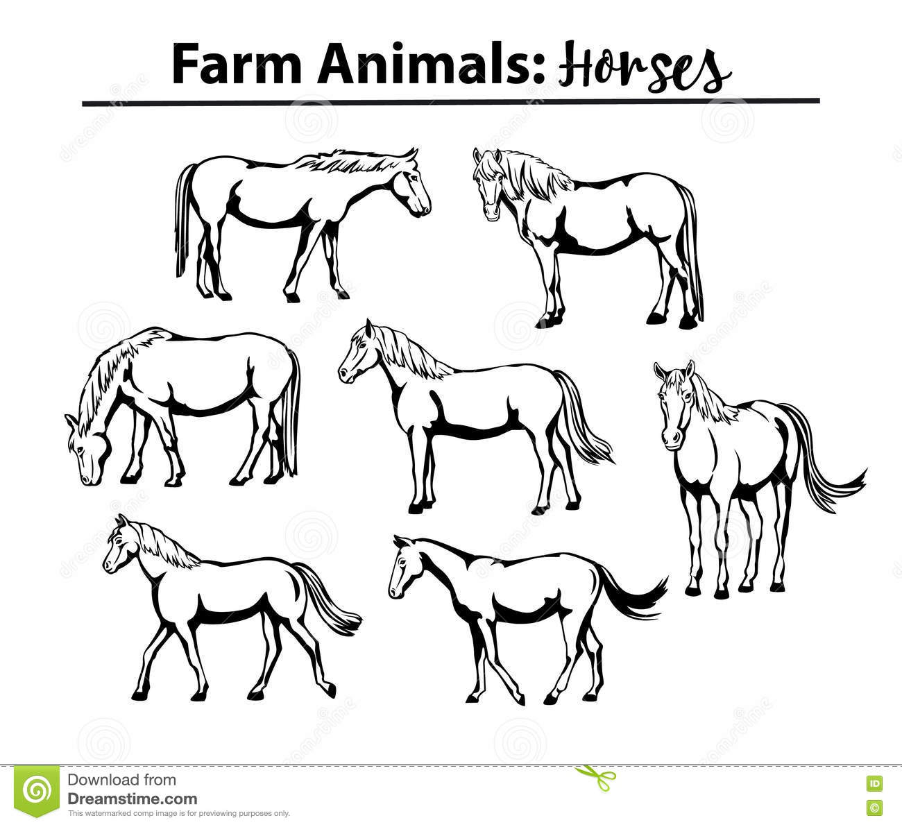 Silhouette Of A Horse Head Front View Cartoon Vector ...