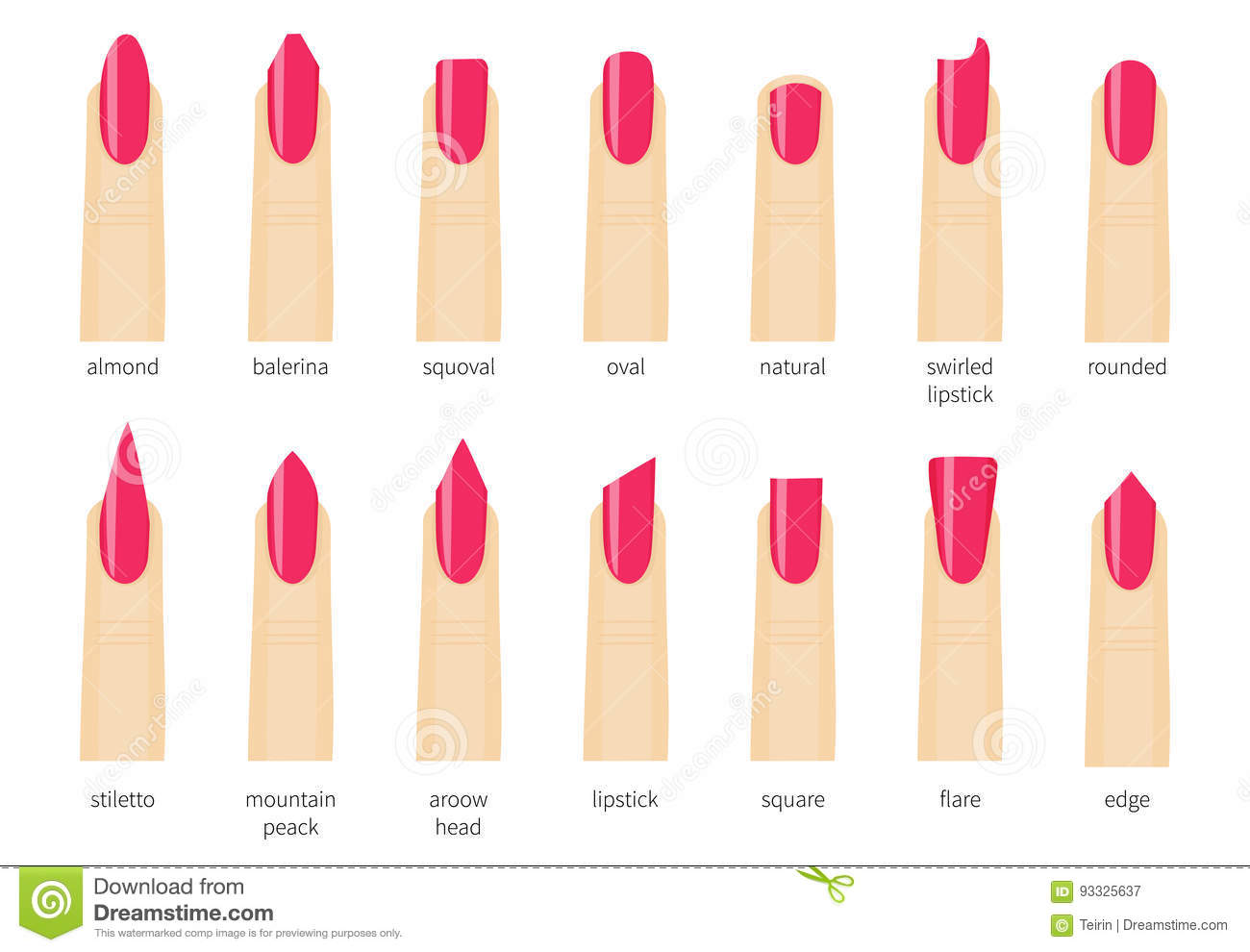 Different Fashion Nail Shapes Set Kinds Of Nails Salon Type