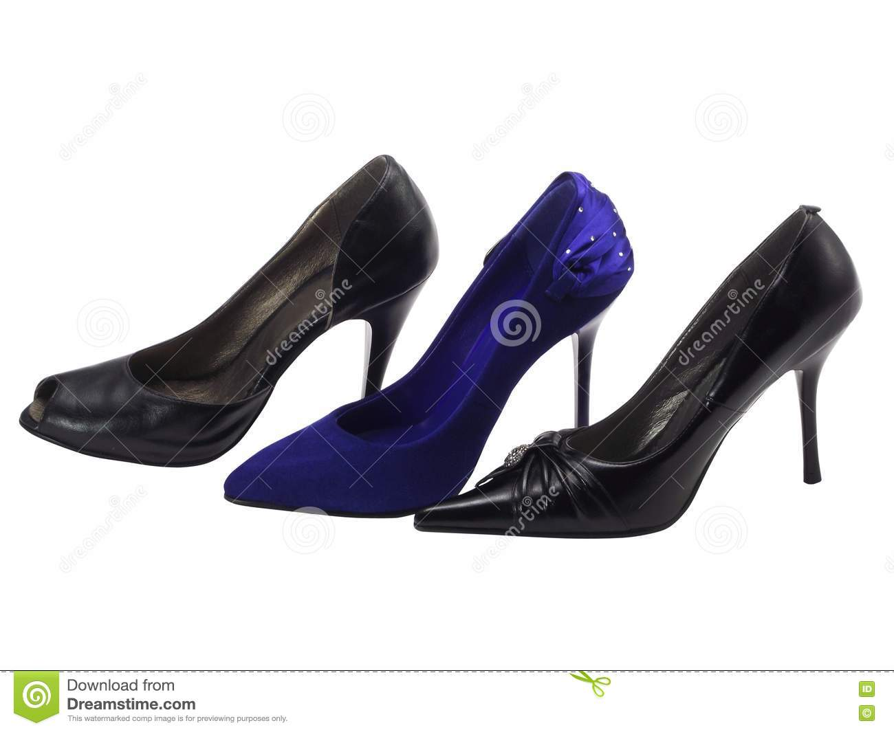 different shoes on a high heel royalty free stock