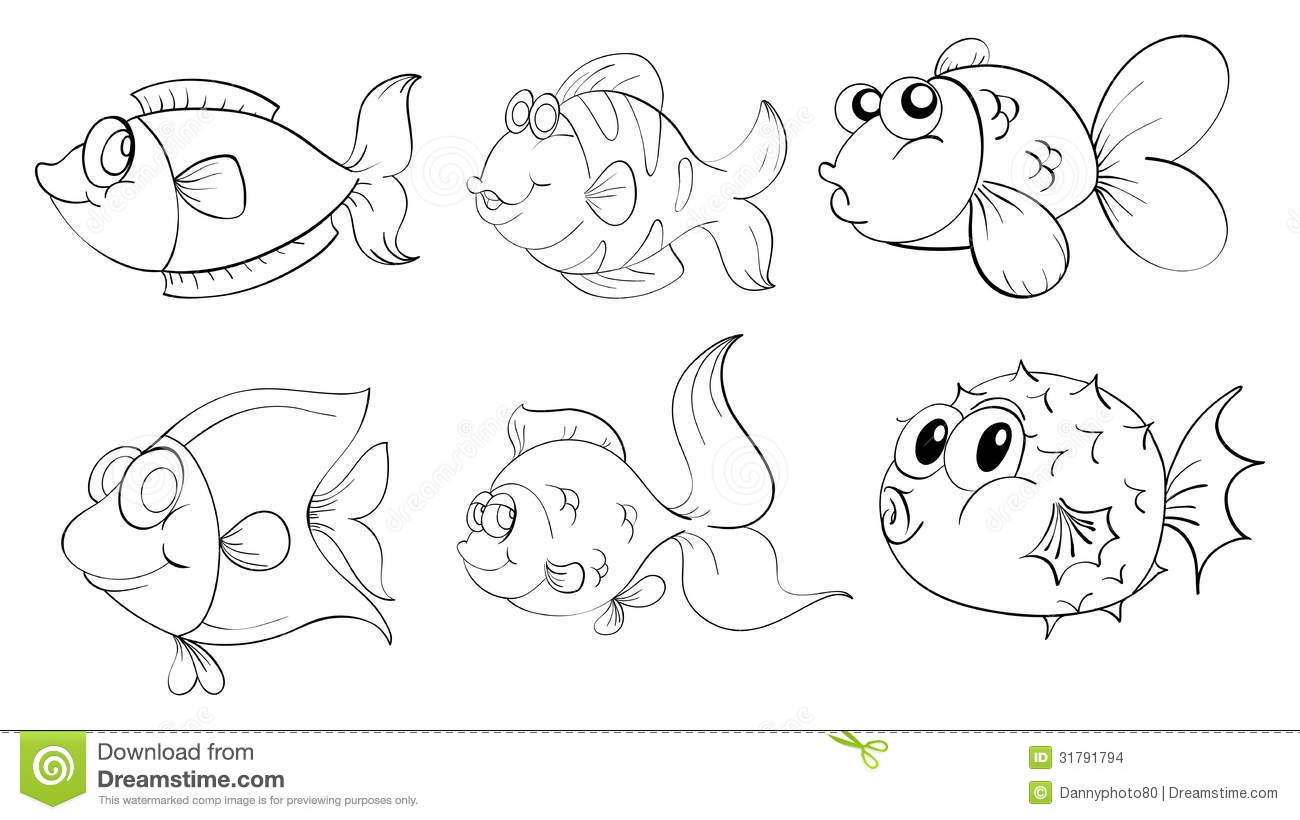 Different fishes in a doodle design stock images image for Wyoming game and fish draw results