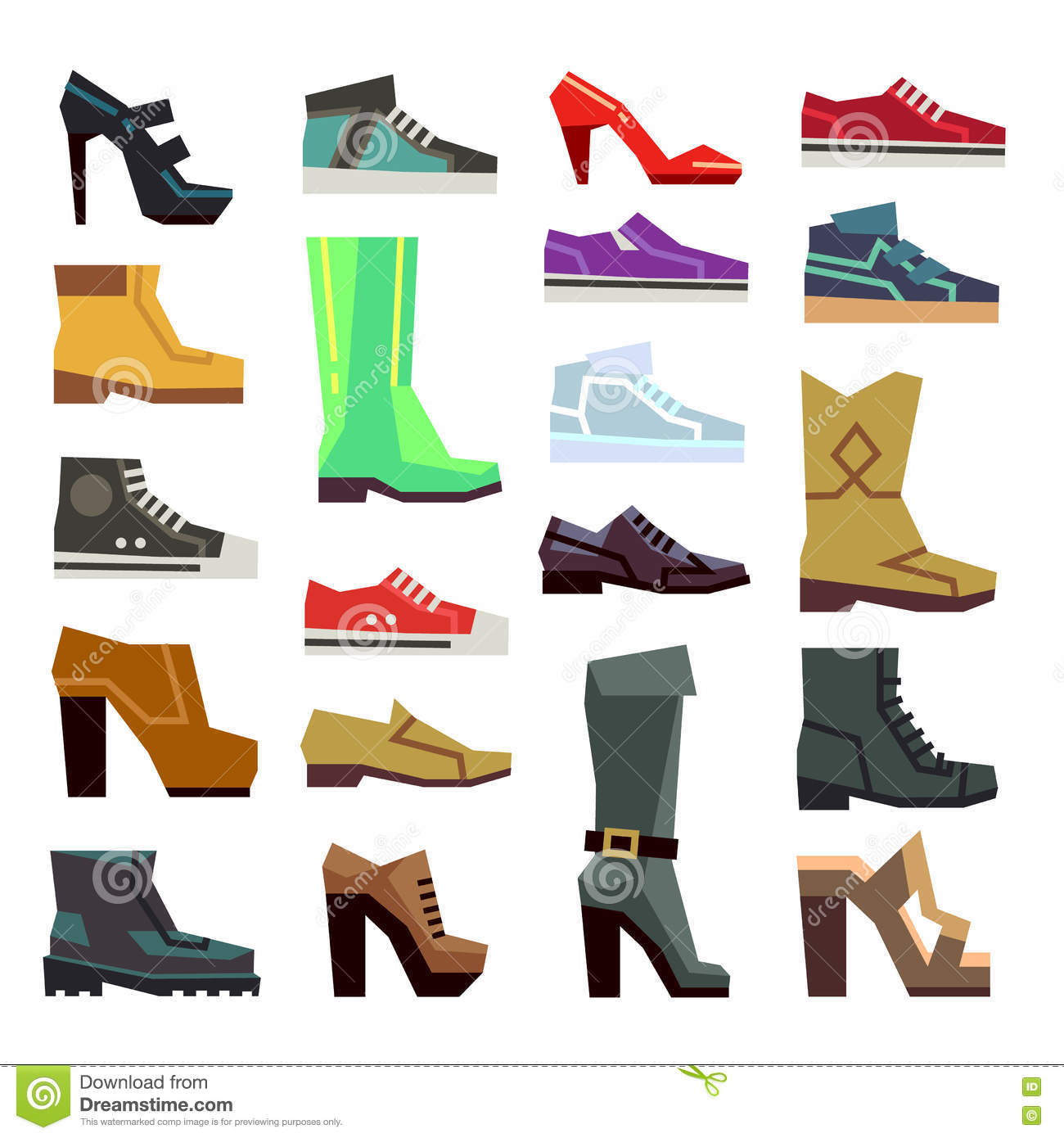 268111a6e187 Different Footwear Casual Shoes Vector Set Stock Vector ...