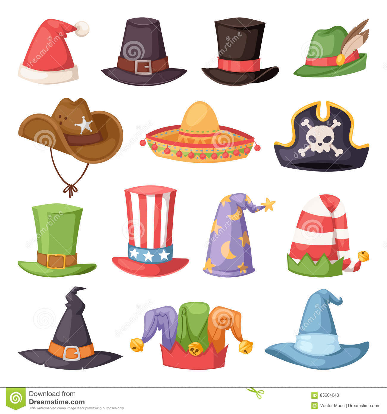 download different funny hats for party and holidays masquerade vector stock vector illustration of halloween