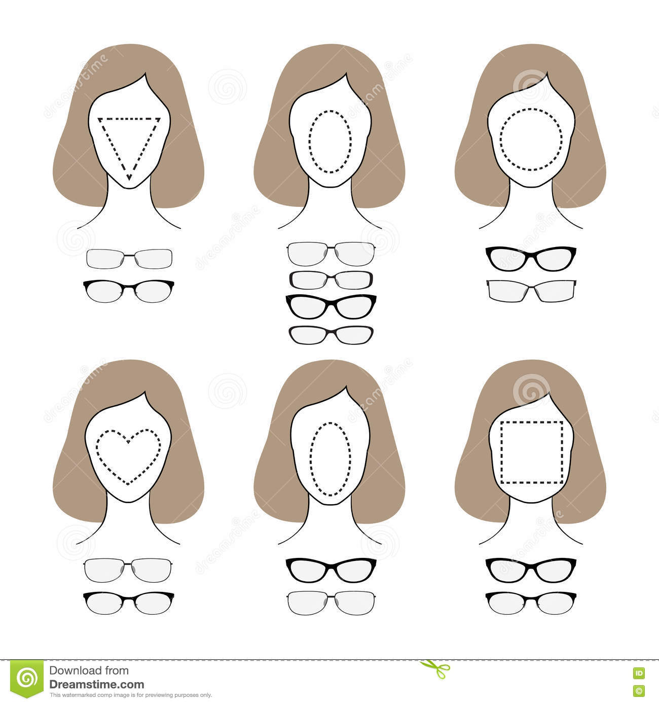 Eyeglass Frames For Different Face Shapes : Different Glasses Shapes For Different Face Types. Vector ...