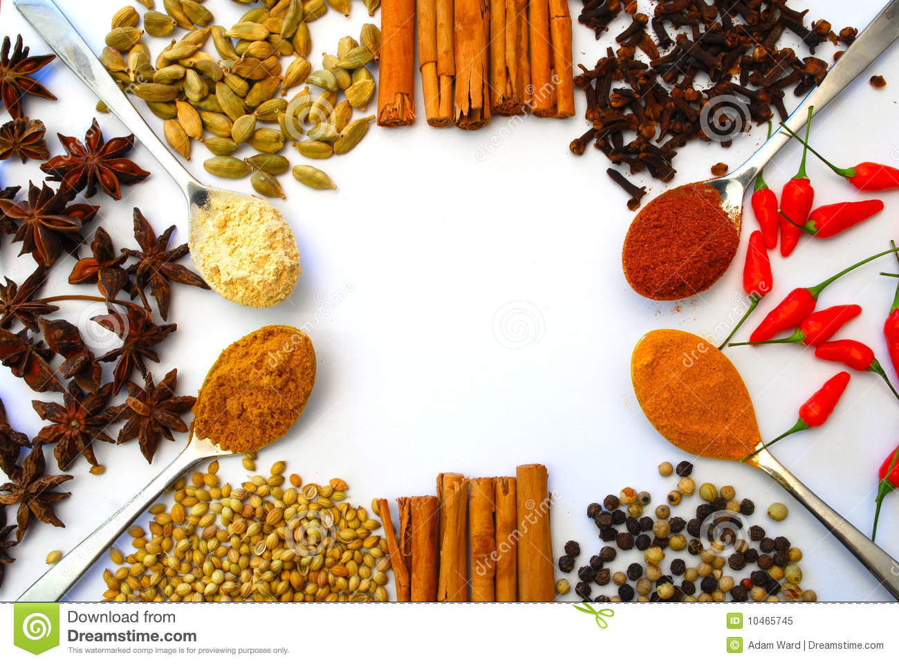 Different Ground And Whole Spice In Border Royalty Free