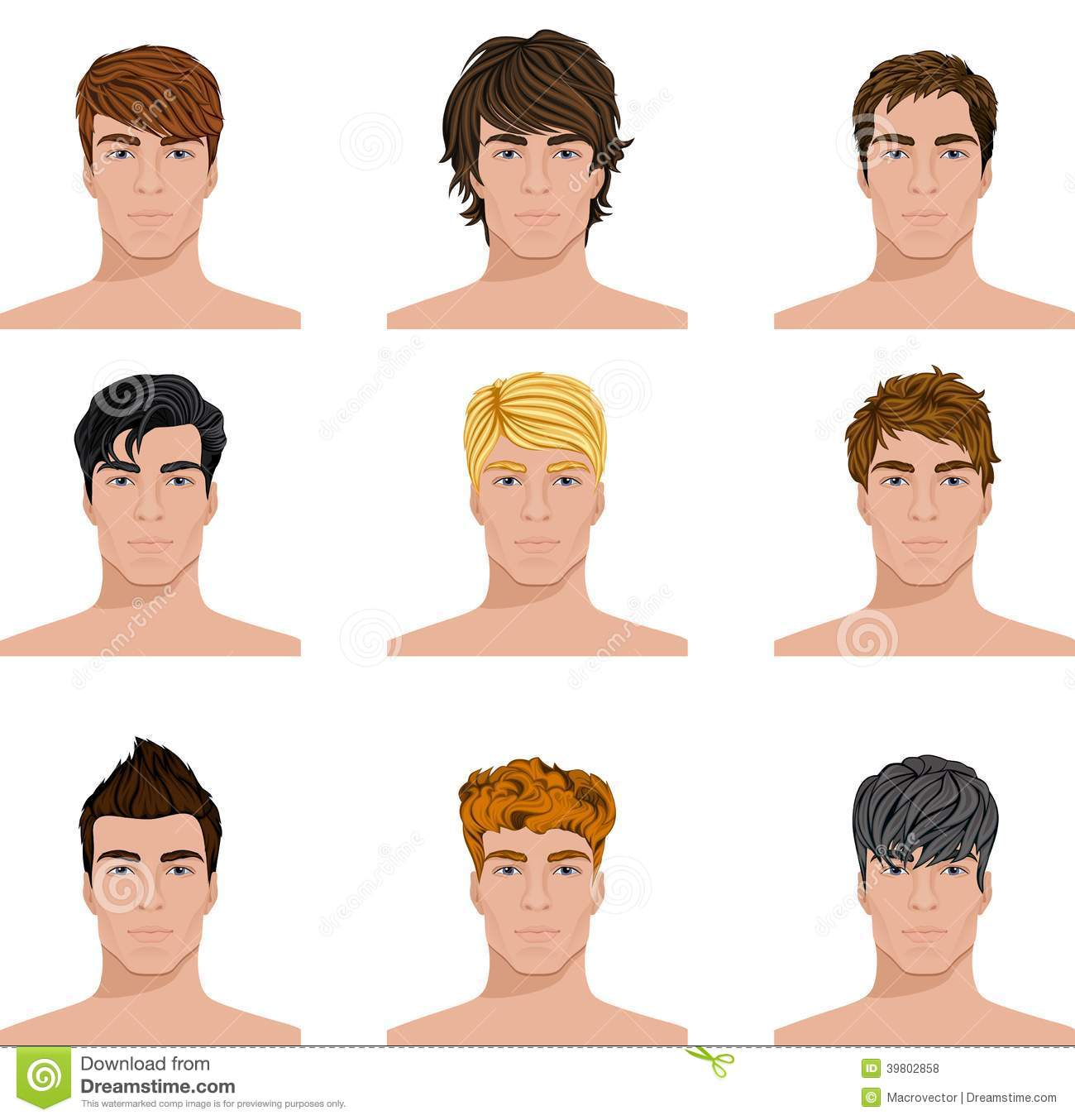 Different Hairstyle Men Faces Icons Set Stock Vector