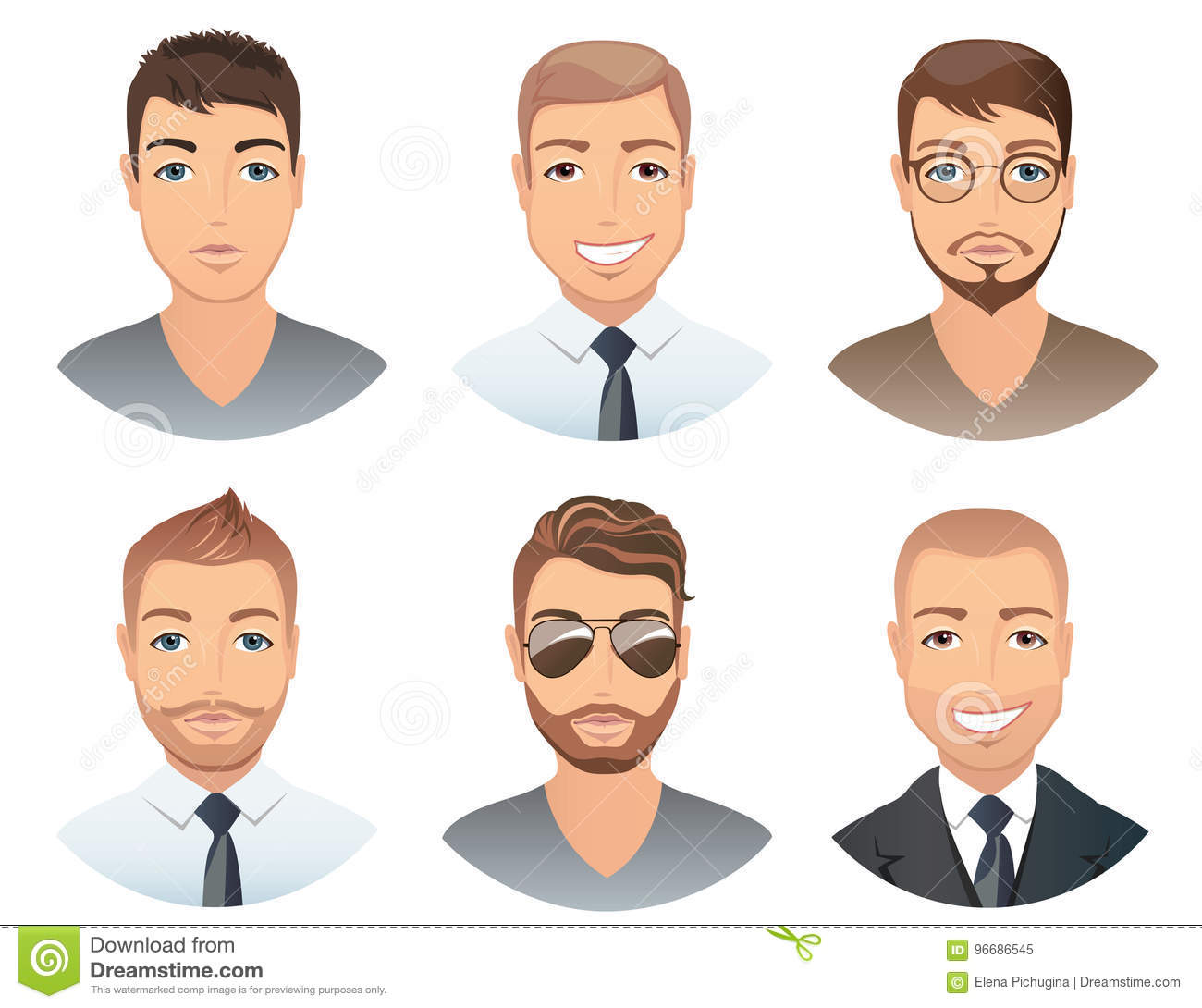 Different Hairstyles For Men. Stock Vector - Illustration of ...