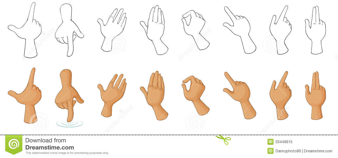 Different Hand Gestures Stock Vector Illustration Of Hand 33449615