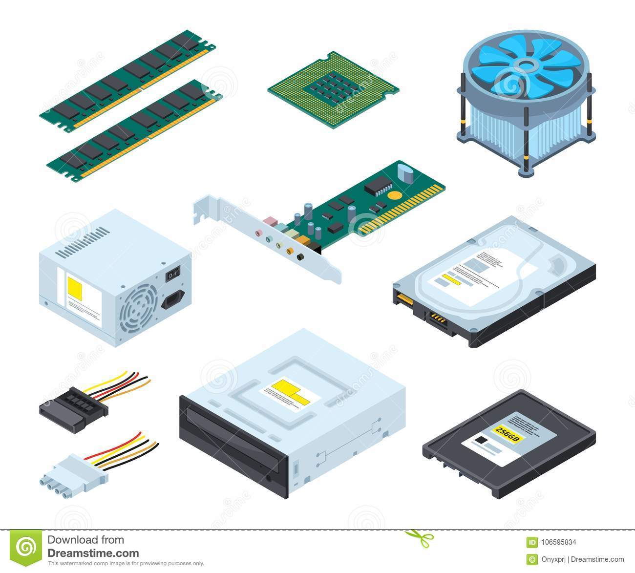 Different hardware parts and components of personal computer. Vector isometric pictures set