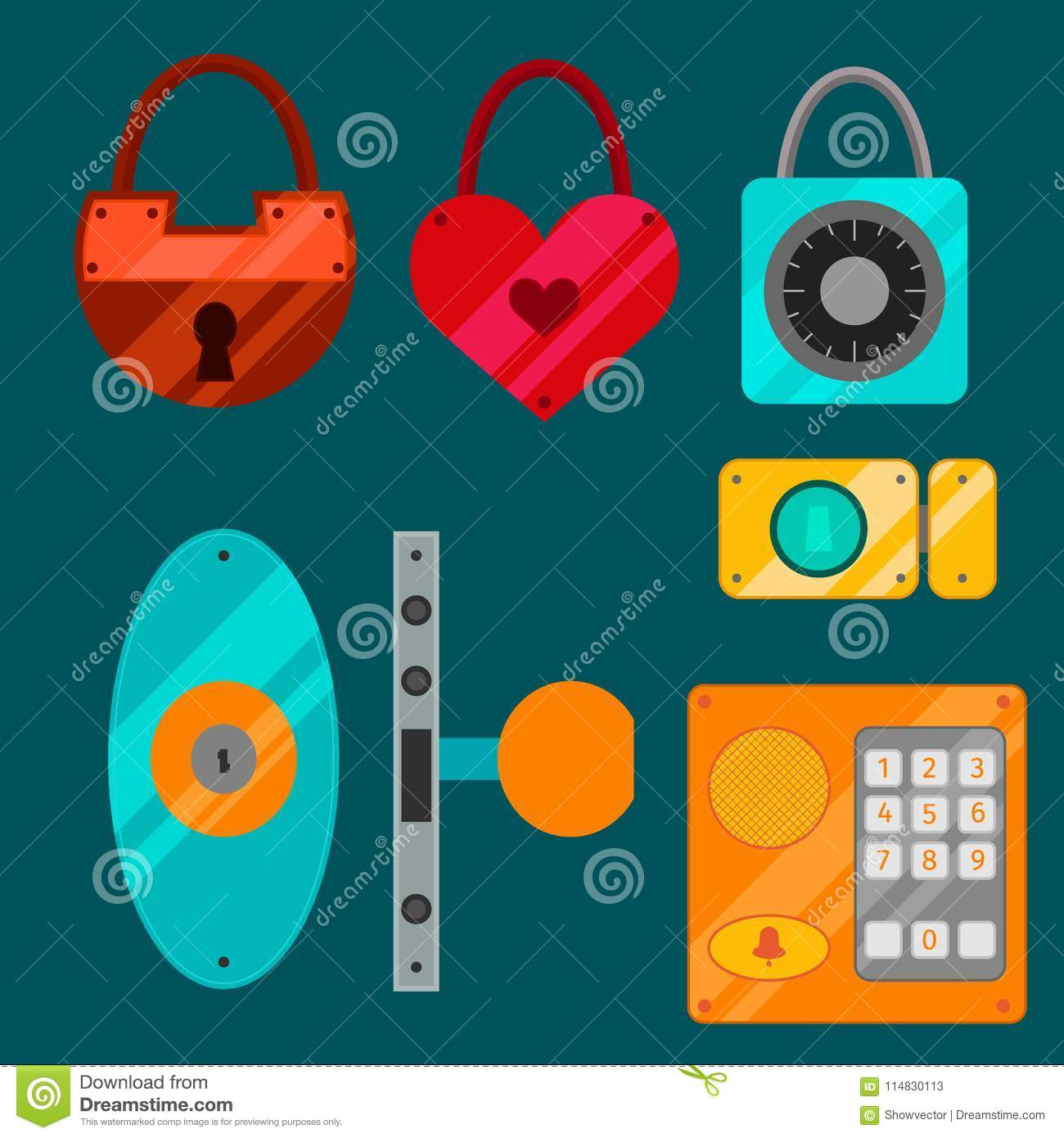 Different House Door Lock Icons Set Vector Safety Password