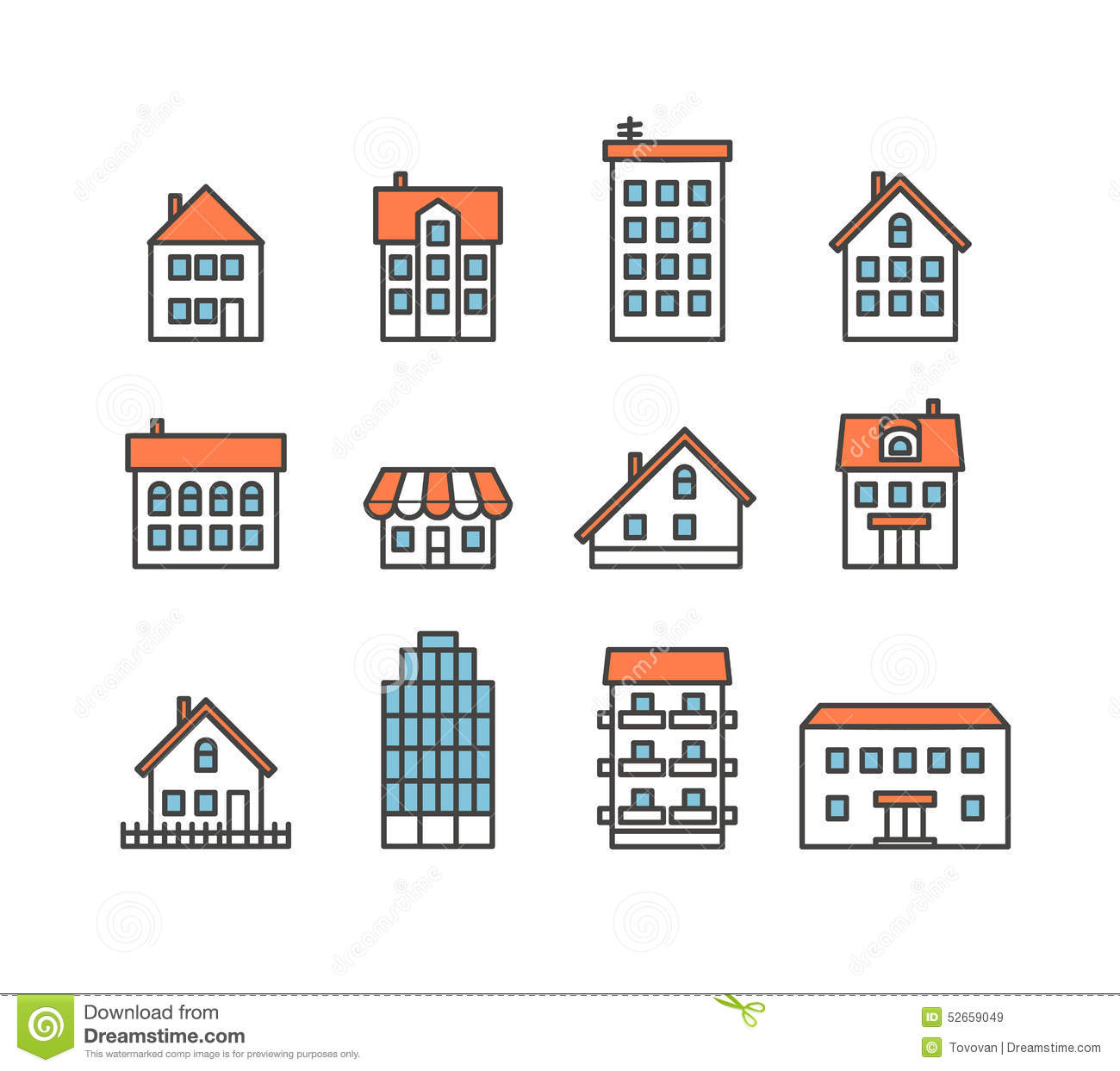 Different house silhouettes collection stock vector image 52659049 - Home design elements ...