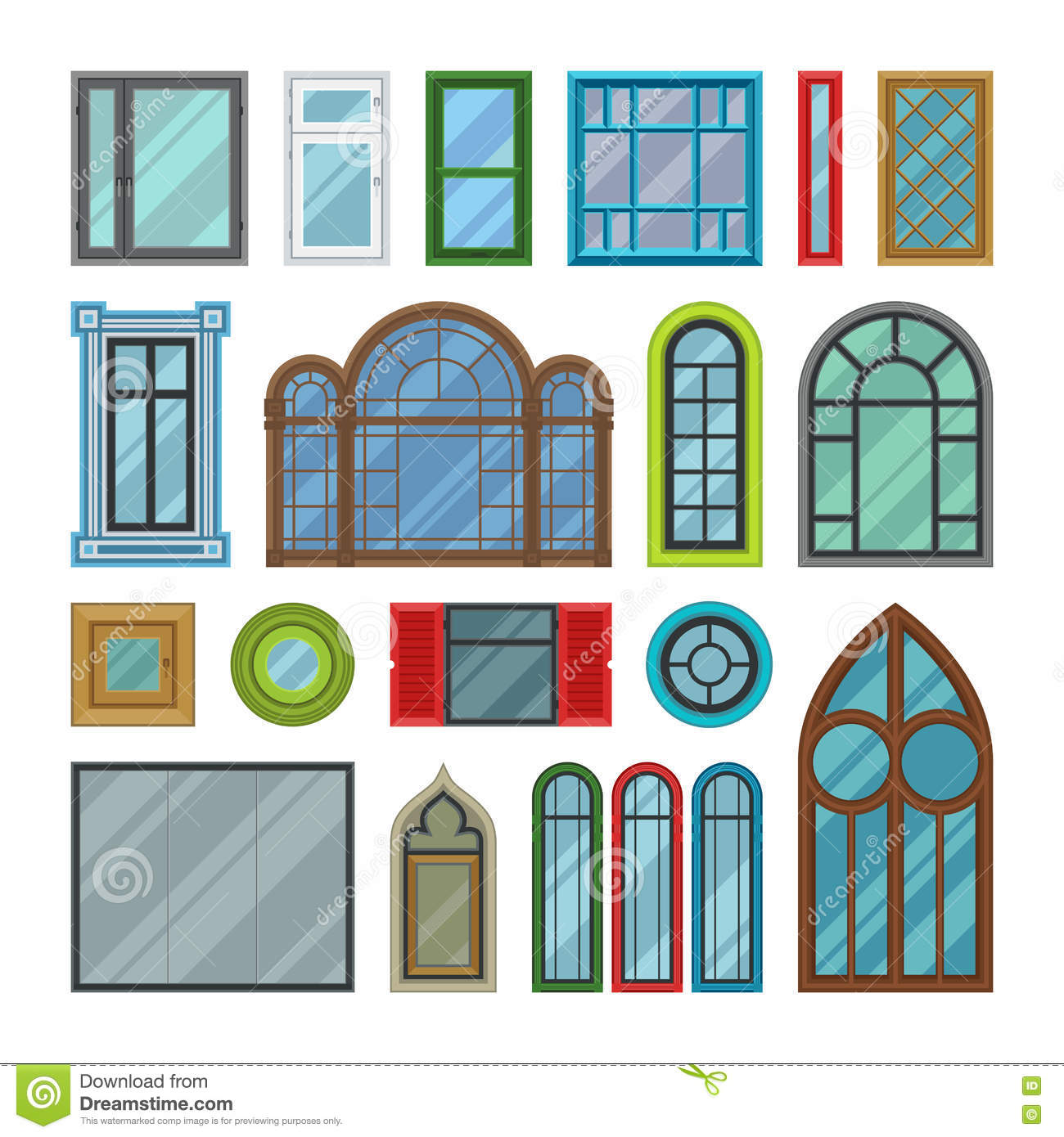 Different house windows vector elements stock vector for Window design clipart