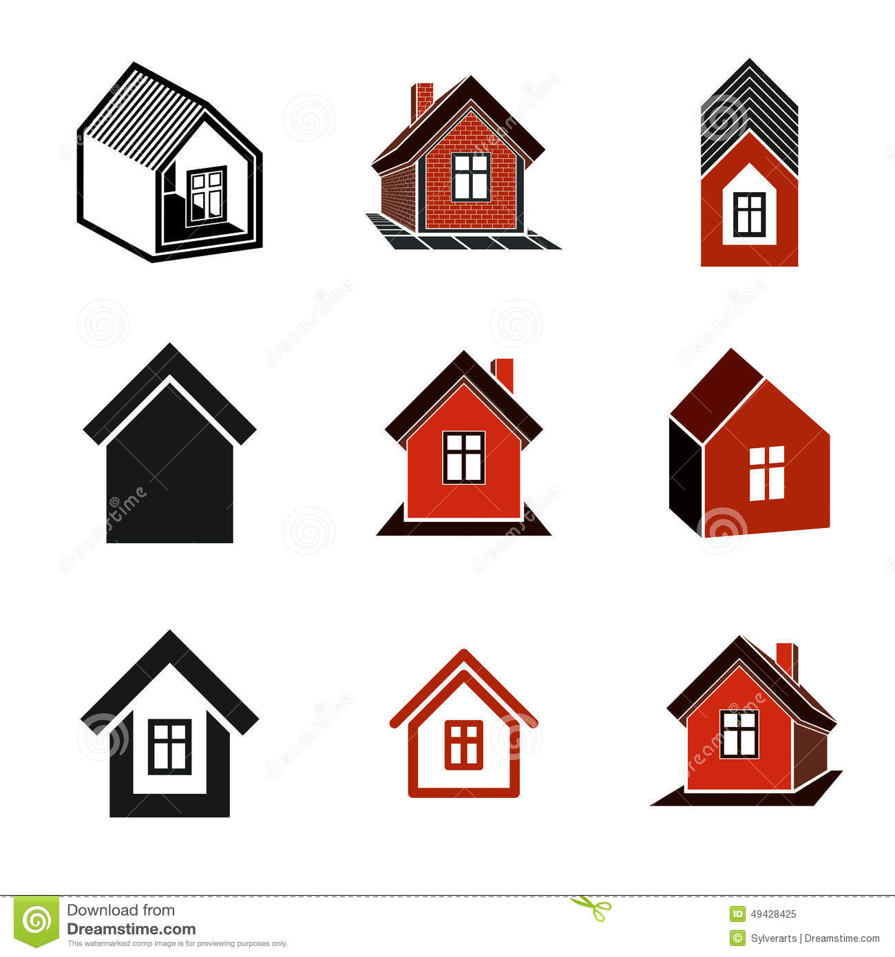 Superb Different Houses Icons For Use In Graphic Design Set Stock Vector Largest Home Design Picture Inspirations Pitcheantrous