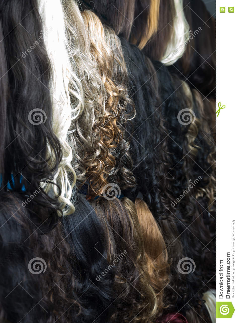 Different Human Hair Extensions In Wig Shop Stock Image Image Of