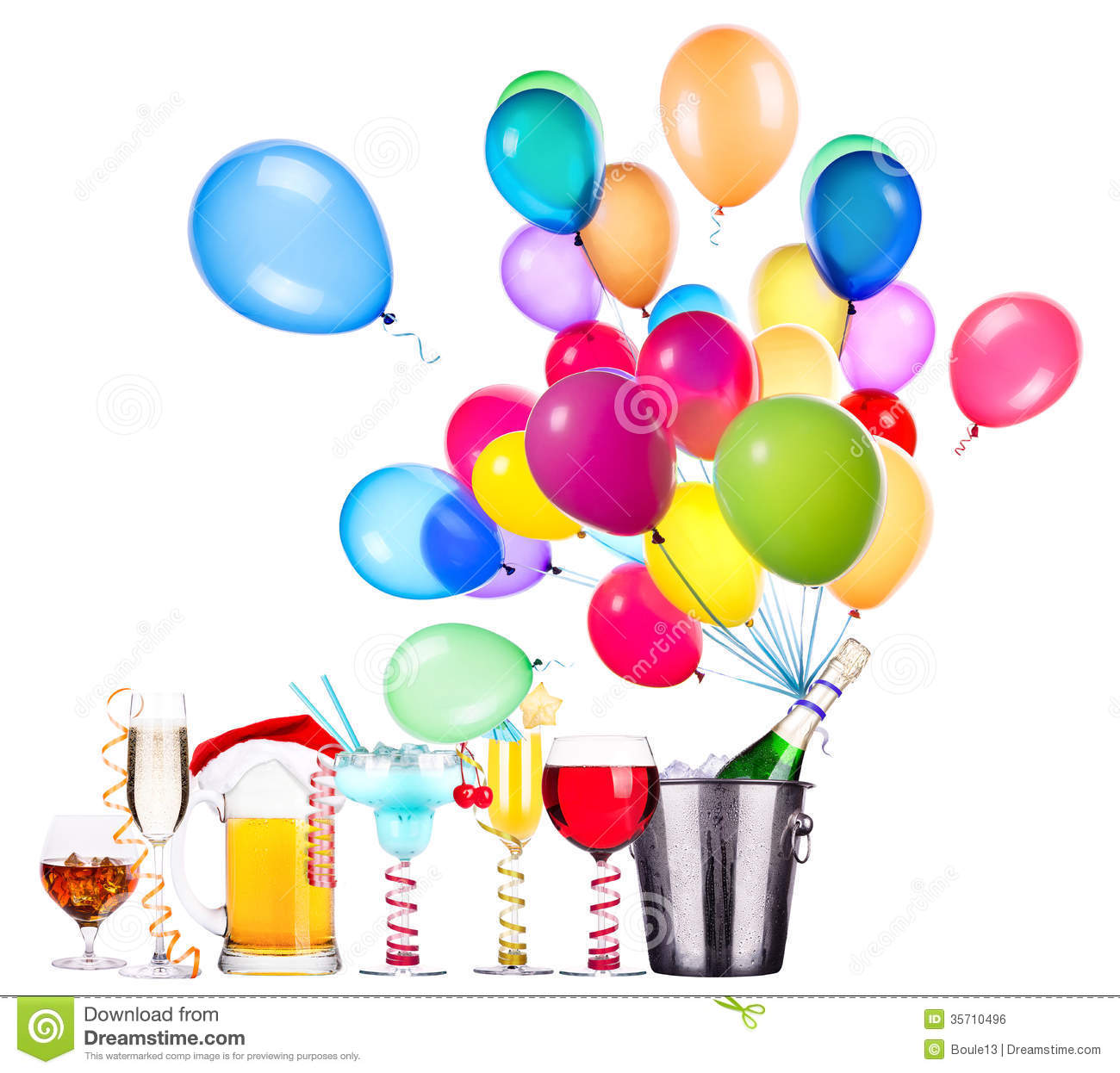 Different Images Of Alcohol With Balloons Royalty Free Stock Image ...