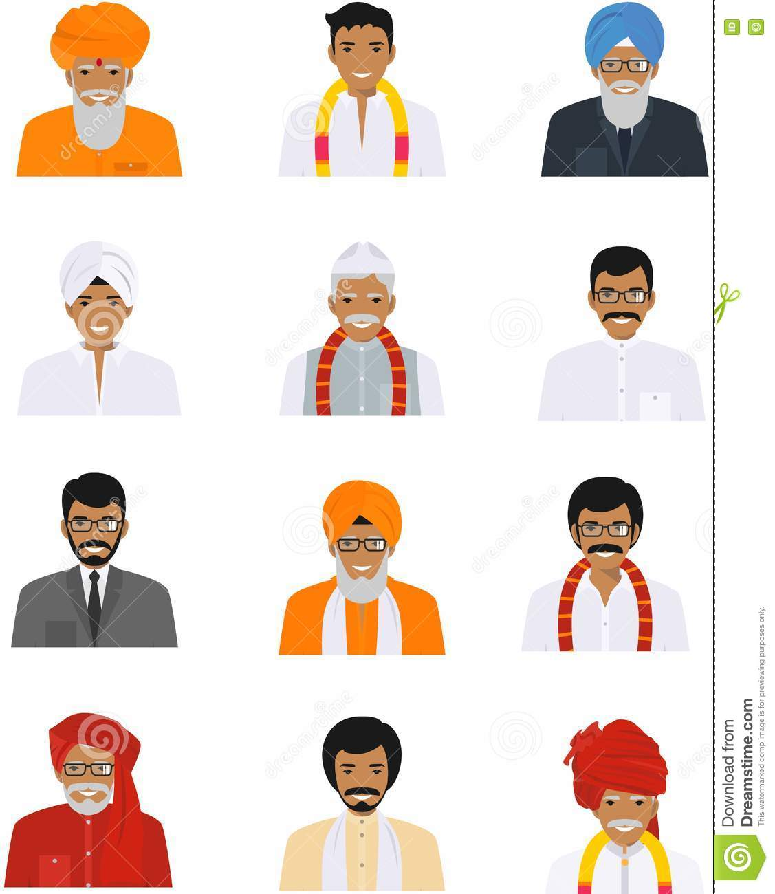 Crowd Of Indian Women Vector Avatars Stock Vector: Different Indian Old And Young Men Characters Avatars