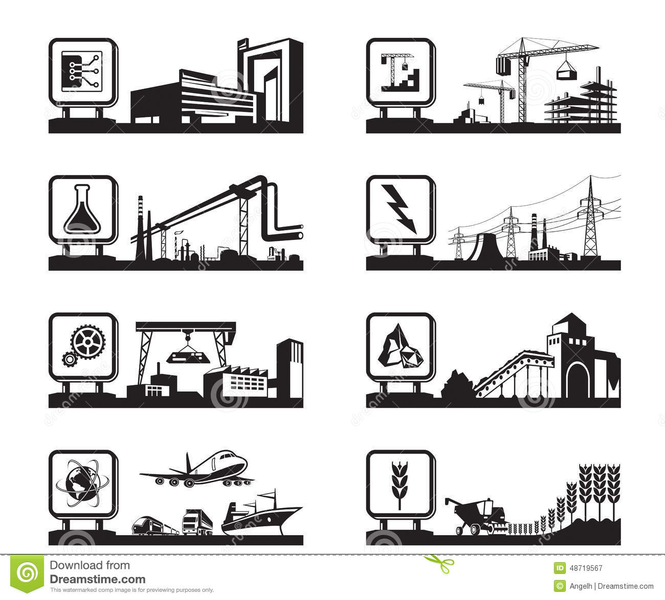 different industries with logo stock vector illustration of heavy