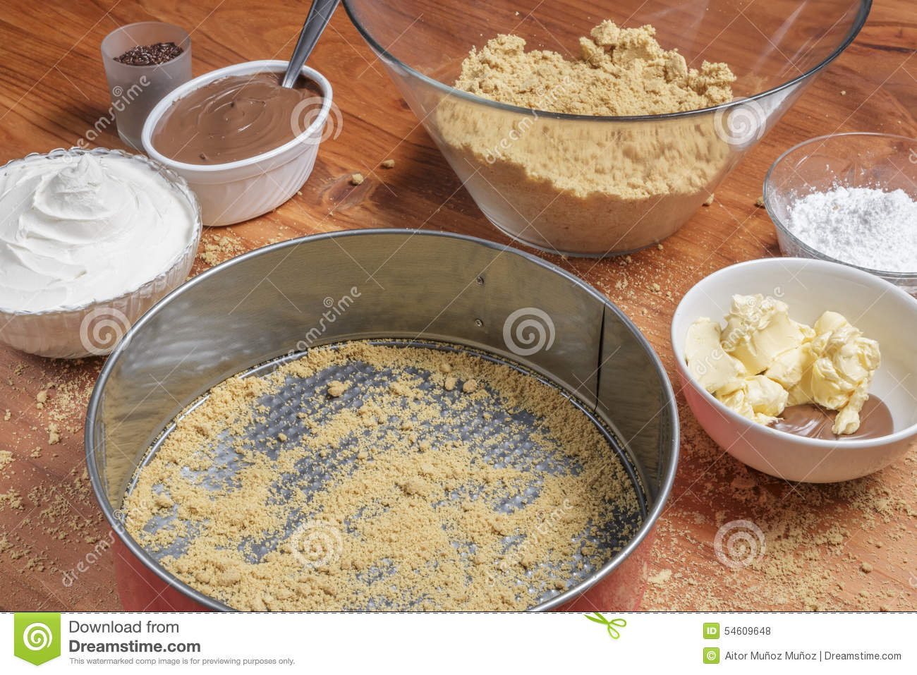 Different Ingredients For A Cake Stock Photo Image 54609648