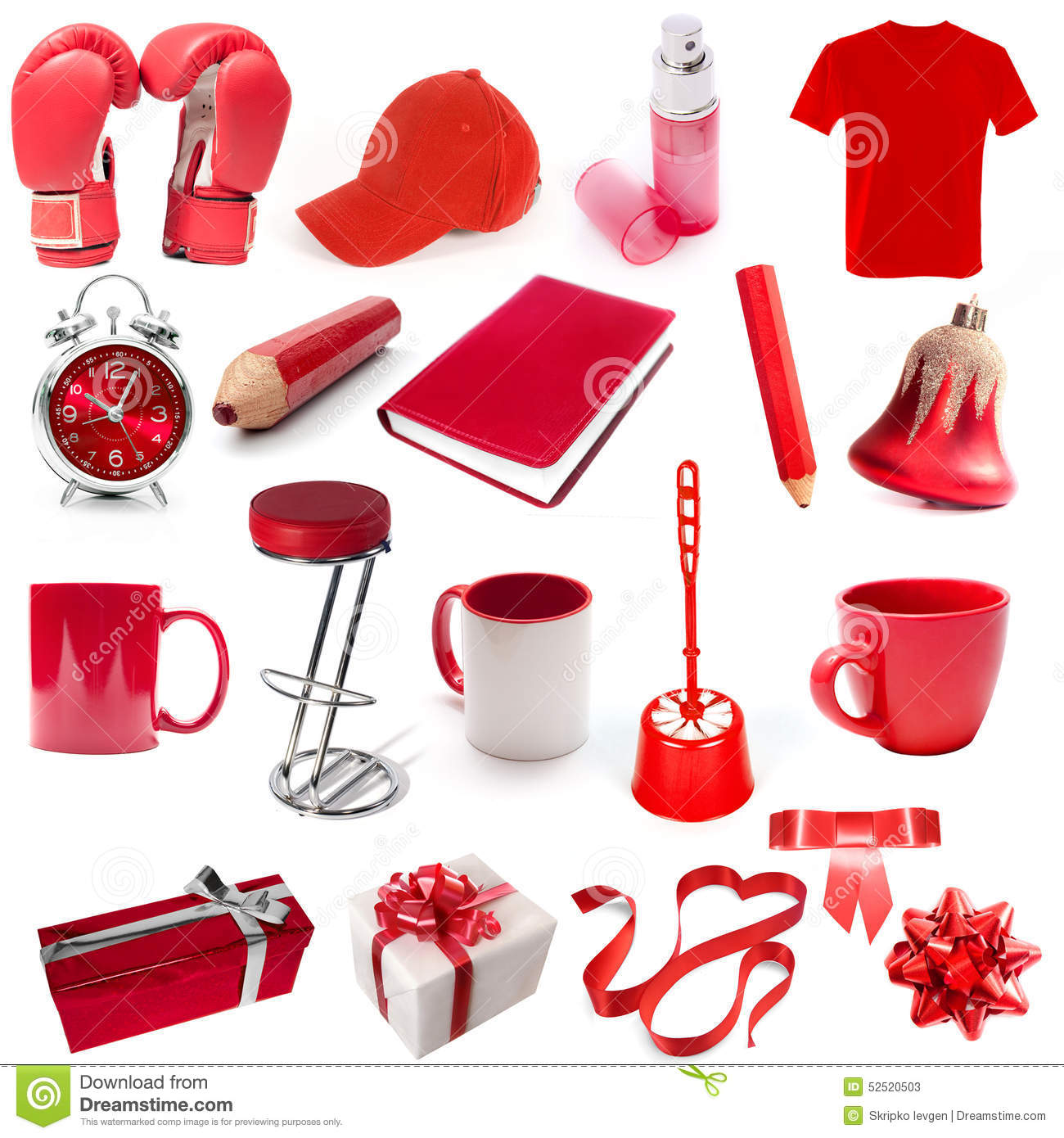 Different isolated objects red color stock photo image for Objet de decoration rouge