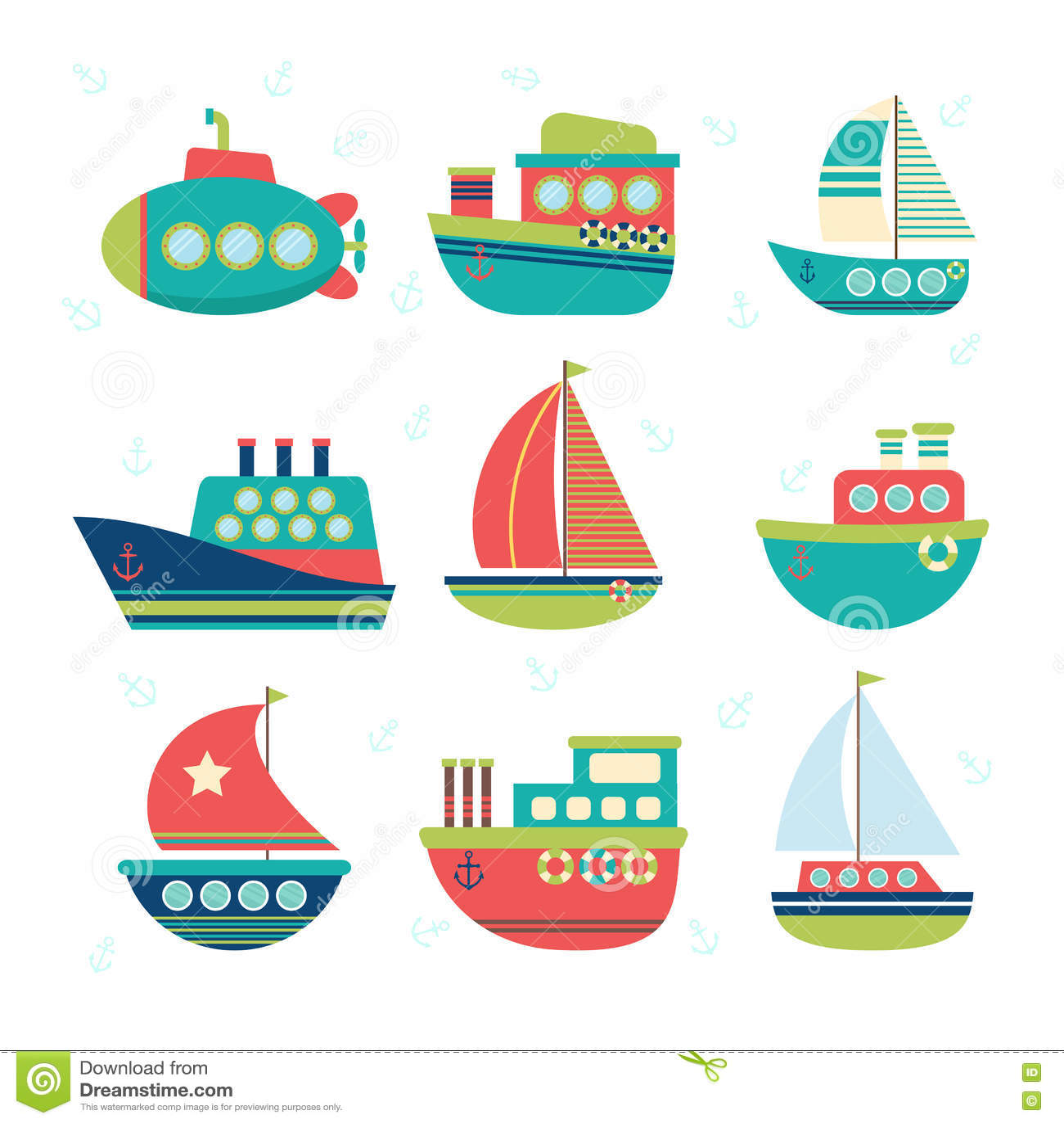 Different Kind Of Boats. Set Of Sea Transport. Fishing Boats, Ya ...