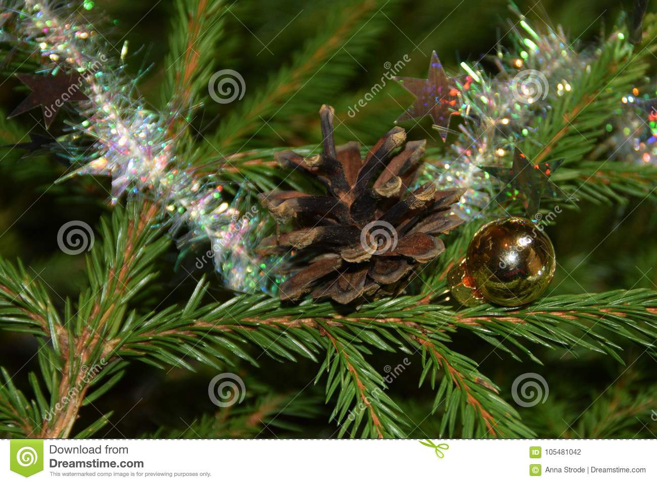 Christmas Tree Decorations On Fir Tree Branches. Stock Photo - Image ...