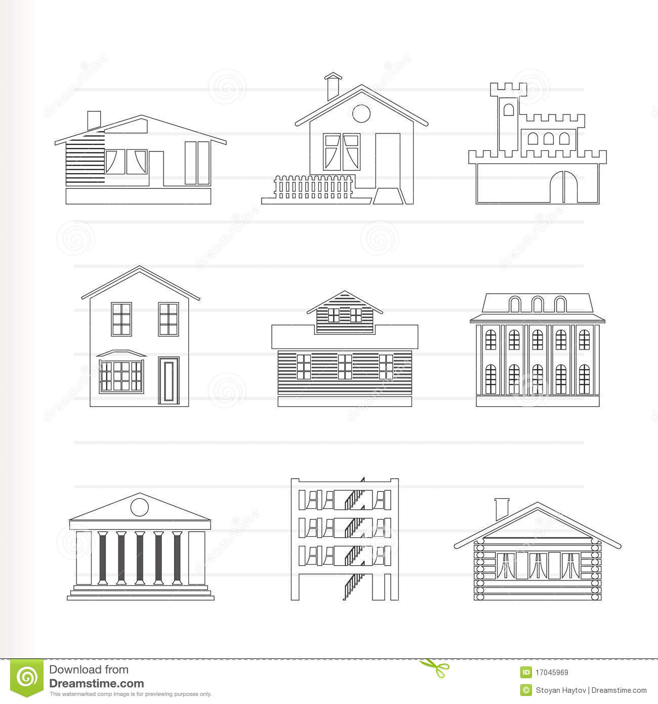 Different Kind Of Houses And Buildings Stock Vector