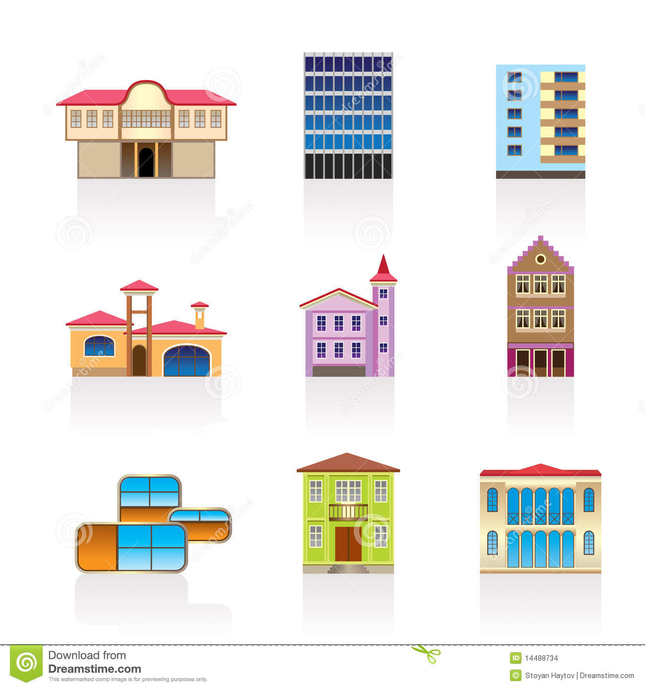 Different kind of houses and buildings 2 stock images for What are the different styles of homes