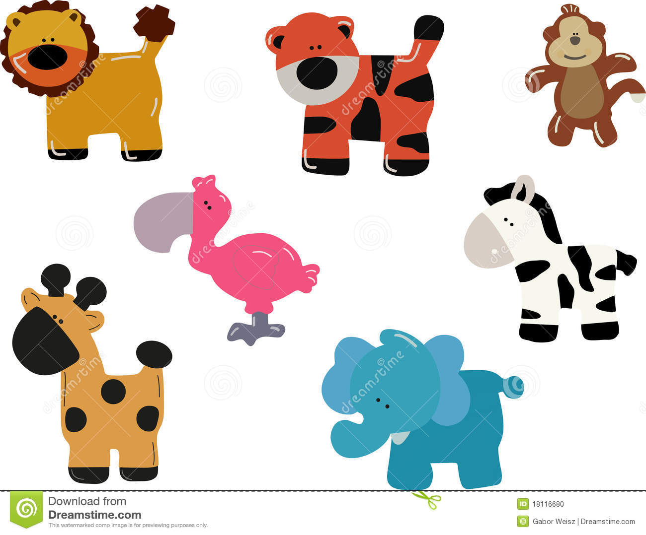 Zoo Animals Together Clipart jungle animals Stock Photo