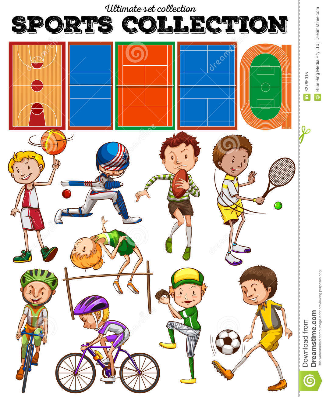 Different Kind Of Sports And Courts Stock Vector