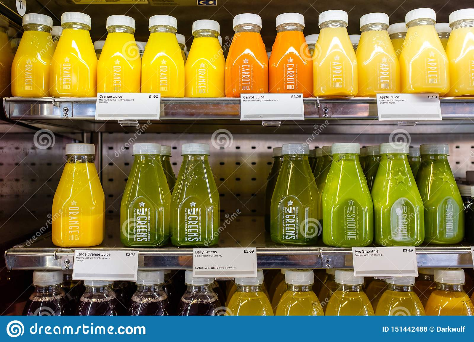 Bottled juice in a shelf fridge