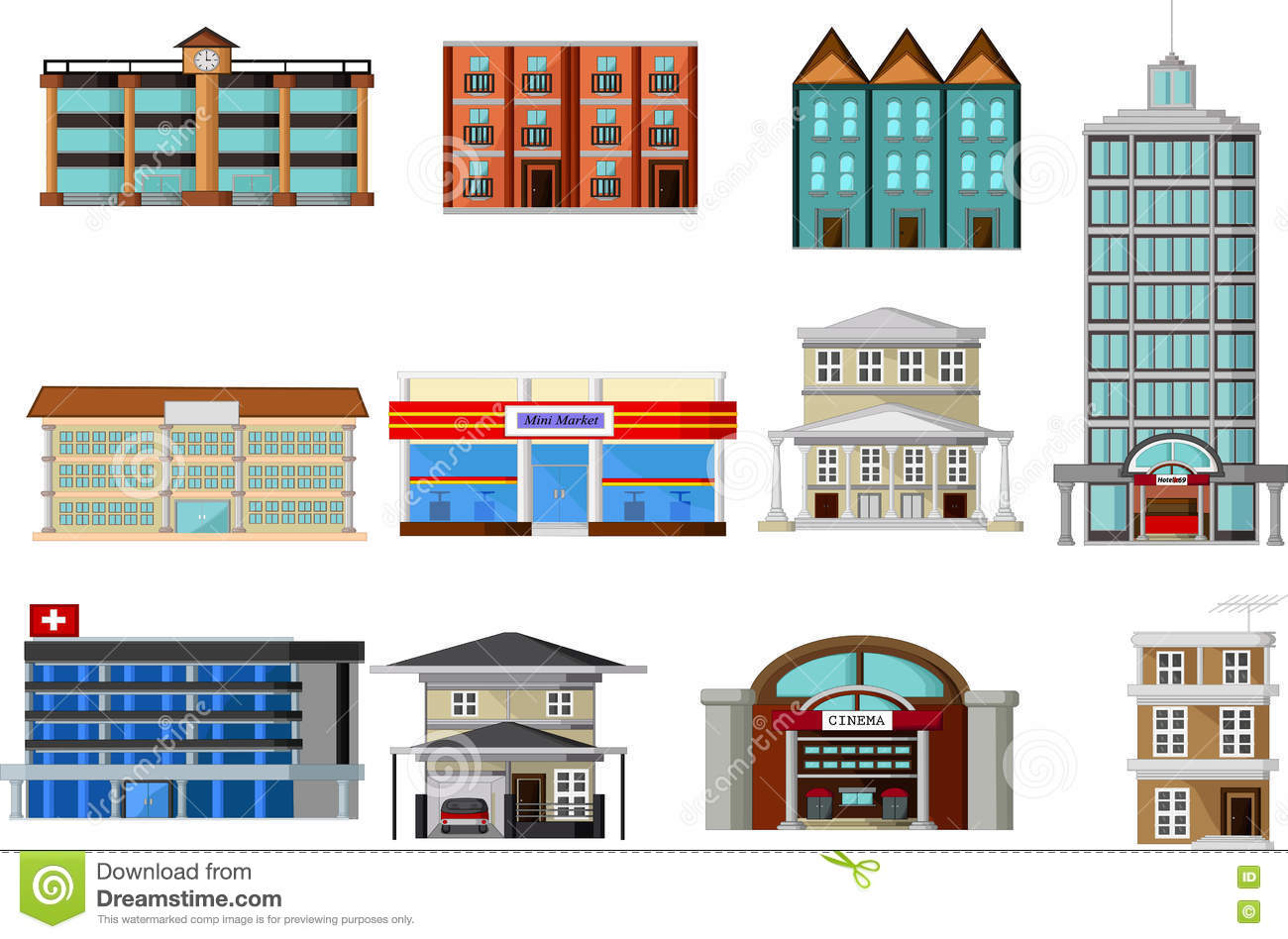 Different kinds of buildings cartoon stock illustration for Different types of homes to build